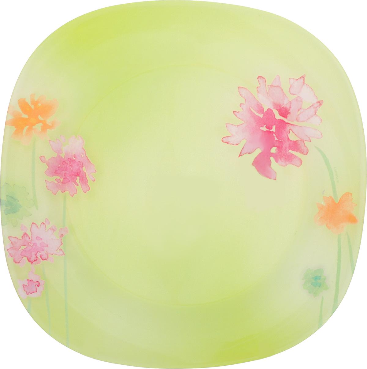 Тарелка обеденная Luminarc Angel Green, 25 см х 25 смJ1752Обеденная тарелка Luminarc Angel Green, изготовленная из высококачественного стекла, декорирована оригинальным цветочным рисунком. Яркий дизайн придется по вкусу и ценителям классики, и тем, кто предпочитает утонченность и изысканность. Тарелка Luminarc Angel Green идеально подойдет для сервировки стола и станет отличным подарком к любому празднику. Размер тарелки: 25 см х 25 см.