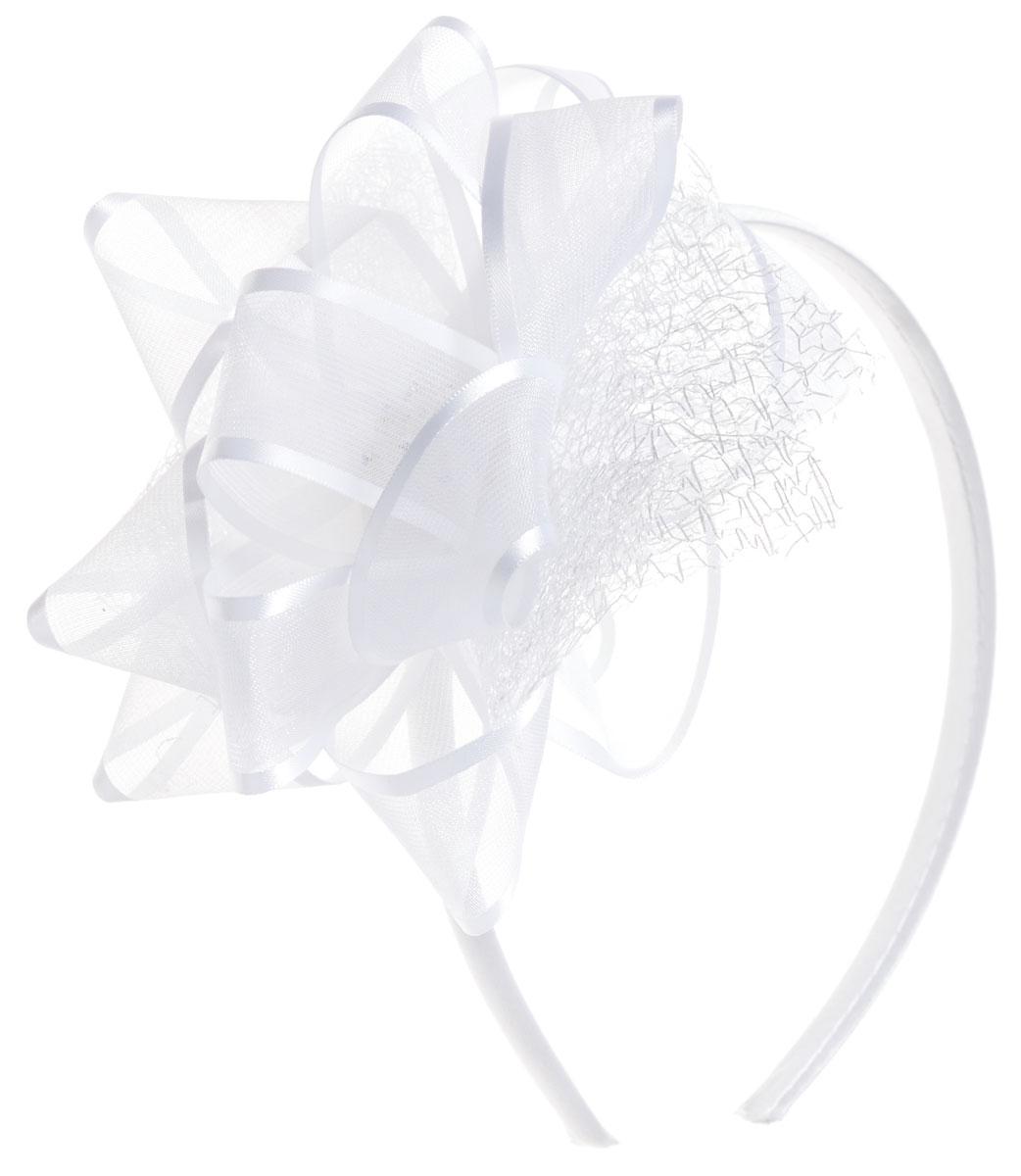Babys Joy Ободок для волос со стразами цвет белый K 15K 15_белыйОбодок для волос Babys Joy со стразами, выполненный из пластика, обтянут атласной тканью и оформлен декоративным элементом в виде банта из органзы. Центр банта украшен перламутровым пластиковым цветком со стразами. Ободок позволяет не только убрать непослушные волосы со лба, но и придать образу романтичности и очарования.