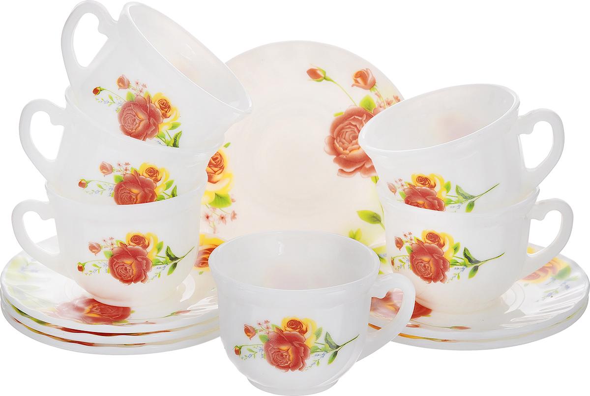 Набор чайный Алессио, 12 предметовXWB190-HP55/6665Чайный набор Алессио состоит из шести чашек и шести блюдец. Предметы набора изготовлены из высококачественной стеклокерамики и оформлены цветочным рисунком. Изящный дизайн придется по вкусу и ценителям классики, и тем, кто предпочитает утонченность и изысканность. Он настроит на позитивный лад и подарит хорошее настроение с самого утра. Чайный набор - идеальный и необходимый подарок для вашего дома и для ваших друзей в праздники, юбилеи и торжества! Он также станет отличным корпоративным подарком и украшением любой кухни. Можно мыть в посудомоечной машине и использовать в микроволновой печи. Объем чашки: 200 мл. Диаметр чашки (по верхнему краю): 8 см. Высота чашки: 6,5 см. Диаметр блюдца: 13,5 см.