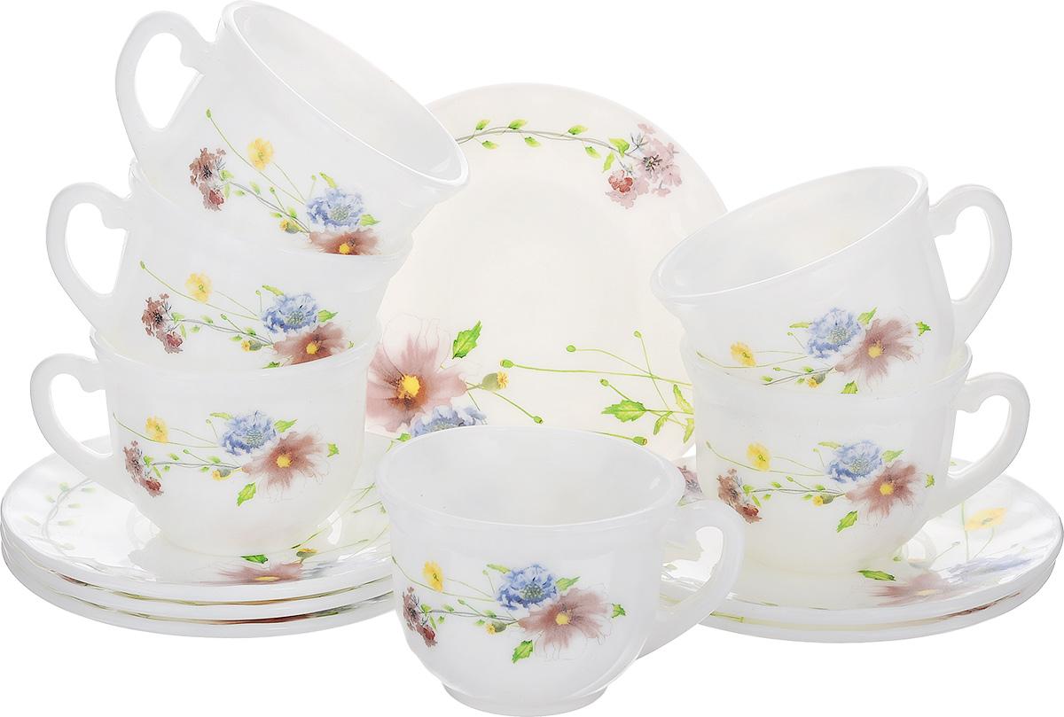 Набор чайный Флоренция, 12 предметовXWB190-HP55/6646Чайный набор Флоренция состоит из шести чашек и шести блюдец. Предметы набора изготовлены из высококачественной стеклокерамики и оформлены цветочным рисунком. Изящный дизайн придется по вкусу и ценителям классики, и тем, кто предпочитает утонченность и изысканность. Он настроит на позитивный лад и подарит хорошее настроение с самого утра. Чайный набор - идеальный и необходимый подарок для вашего дома и для ваших друзей в праздники, юбилеи и торжества! Он также станет отличным корпоративным подарком и украшением любой кухни. Можно мыть в посудомоечной машине и использовать в микроволновой печи. Объем чашки: 200 мл. Диаметр чашки (по верхнему краю): 8 см. Высота чашки: 6,5 см. Диаметр блюдца: 13,5 см.