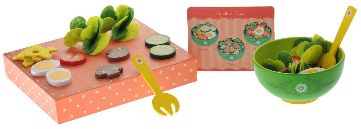 Djeco Игровой набор Салат от Розетт и Цезаря06616Игровой набор Djeco Салат от Розетт и Цезаря в увлекательной форме научит вашу малышку готовить аппетитное и очень вкусное блюдо - изысканный салатик. Внутри ярко оформленной коробочки находится все необходимое для начала развлечения: карточка с иллюстрированными 3 рецептами, салатная миска, две вилочки и продукты (кусочки огурцов, сыра, яиц, грибов, томатов, листья салата). Коробочка закрывается крышкой. Когда малышки в совершенстве освоят способ приготовления легкого лакомства для гурманов, то игрушечные ингредиенты с легкостью можно будет поменять на настоящие, чтобы подкрепиться вкусным салатиком. Все элементы выполнены из качественных материалов (дерево и текстиль) и абсолютно безопасны для ребенка. С таким набором все игрушки вашего малыша будут накормлены.