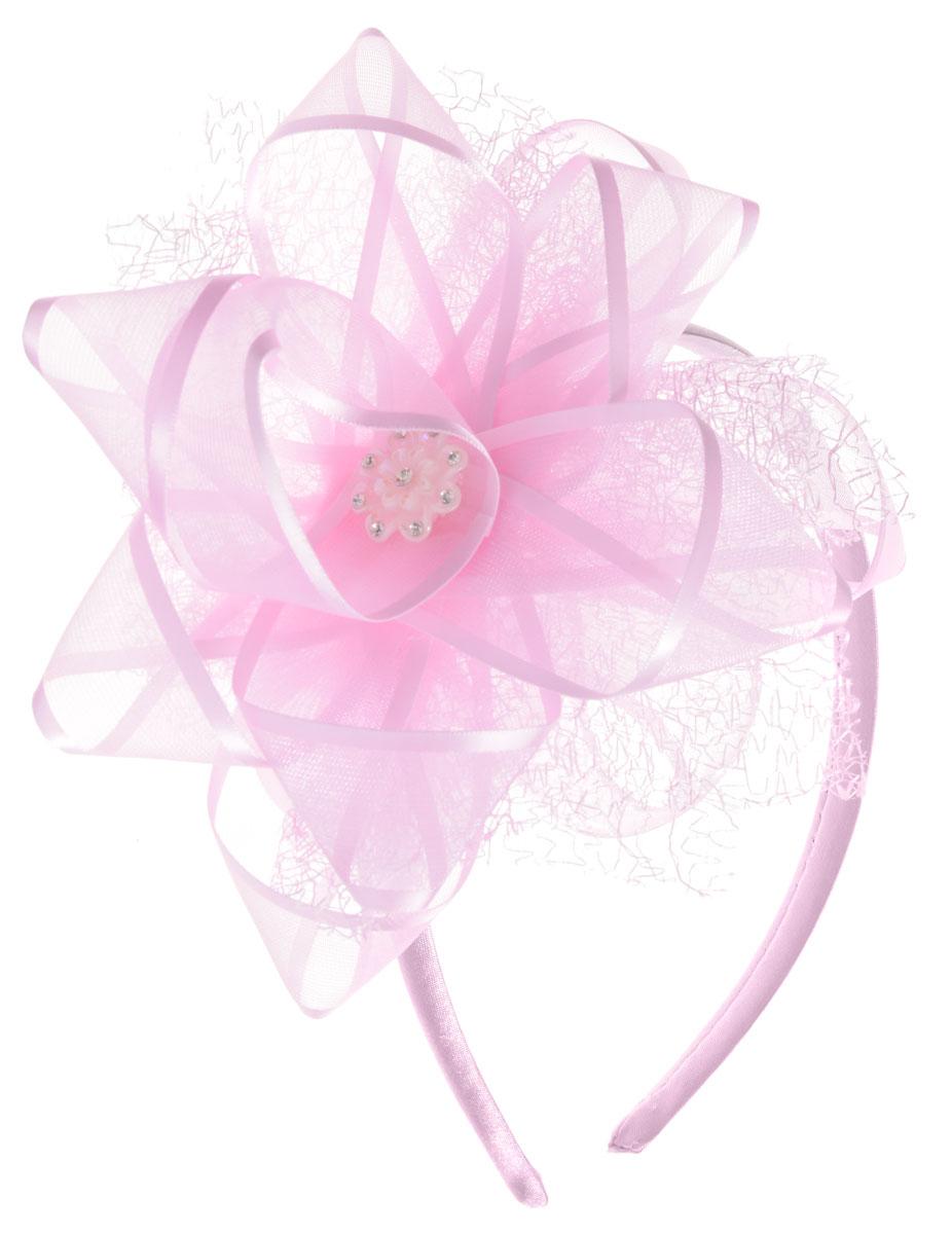 Babys Joy Ободок для волос со стразами цвет розовый K 15K 15_розовыйОбодок для волос Babys Joy со стразами, выполненный из пластика, обтянут атласной тканью и оформлен декоративным элементом в виде банта из органзы. Центр банта украшен перламутровым пластиковым цветком со стразами. Ободок позволяет не только убрать непослушные волосы со лба, но и придать образу романтичности и очарования.