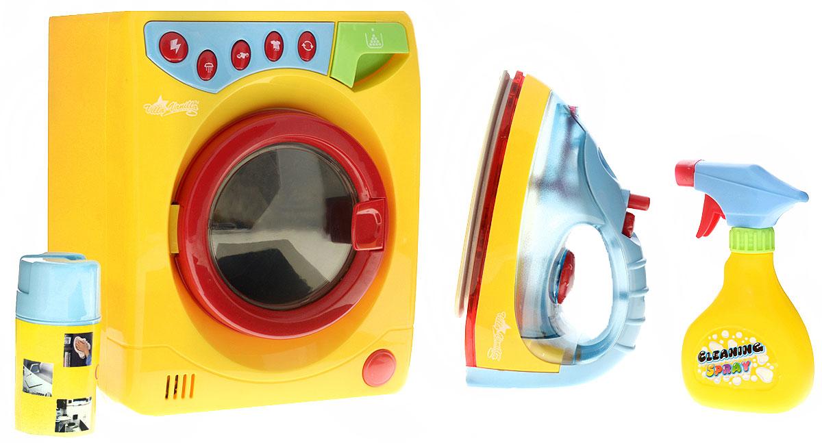 Playgo Игровой набор Стиральная машина с утюгомPlay 3256Игровой набор Playgo Стиральная машина с утюгом непременно понравится вашему ребенку и не позволит ему скучать. В комплект входит стиральная машина, утюг и 2 спрея для влажной уборки. Все элементы набора изготовлены из прочного безопасного пластика. Утюг имеет подсветку, вращающийся диск для выбора режимов и вида ткани, а также кнопку для распыления воды. Стиральная машина имеет 5 кнопок: •кнопка с молнией (ON/OFF) - кнопка включения/выключения машины; •кнопка с душем - залив воды в машинку; •кнопка с футболкой и стрелочками - режим стирки; •кнопка с футболкой и воздухом - сушка; •кнопка со стрелочками - полный цикл стирки. Справа имеется открывающийся отсек для стирального порошка. Стиральная машинка работает только при закрытой дверце. При работе машинки барабан вращается. Такая игрушка поможет ребенку развить звуковое восприятие, мелкую моторику рук и координацию движений, а также станет важным элементом сюжетно-ролевых игр...