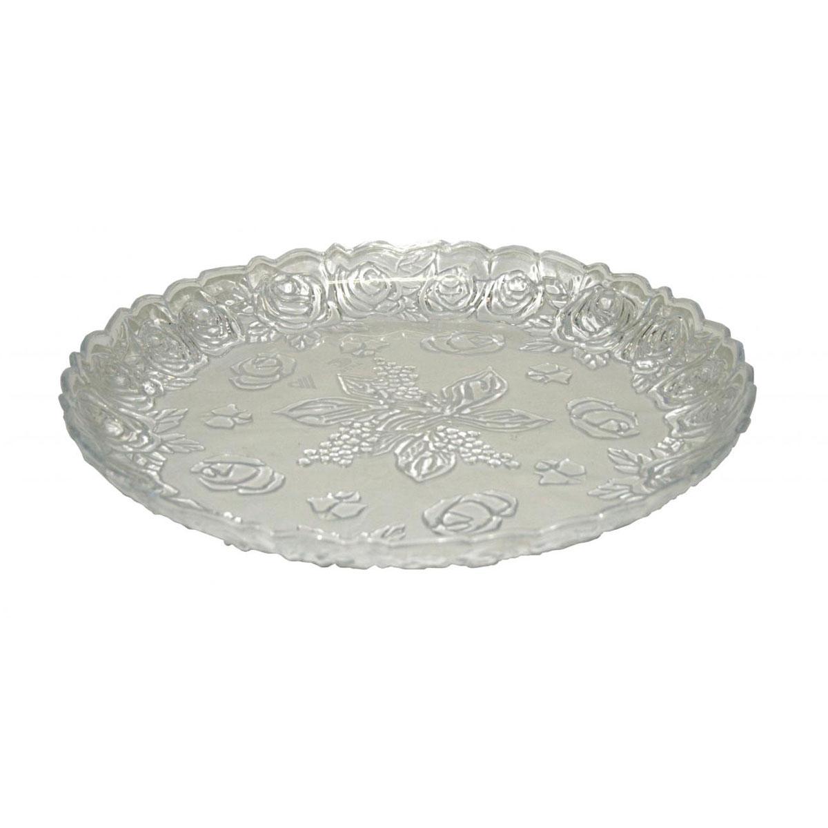 Поднос Альтернатива Изобилие, цвет: прозрачный, диаметр 35 смМ554Поднос Альтернатива Изобилие, выполненный из пластика, станет незаменимым предметом для сервировки стола. Внешние стенки подноса оформлены объемными цветочными узорами. Края подноса фигурные. Красочный дизайн подноса придаст оригинальность и яркость любой кухне или столовой. Поднос уместит на себе достаточно много продуктов и предохранит поверхность стола от грязи и перегрева. Диаметр подноса: 35 см. Высота подноса: 4 см.