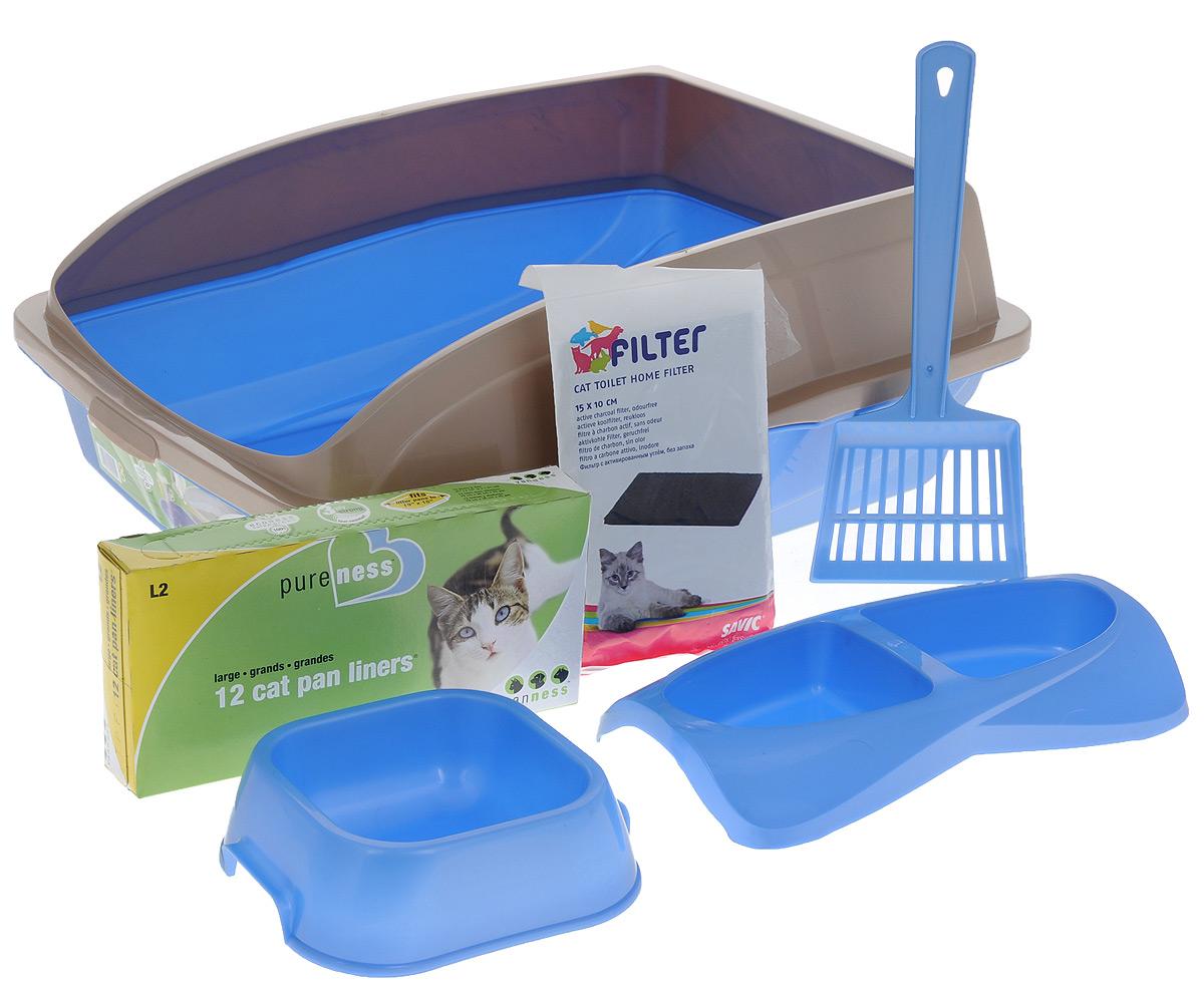 Лоток для кошек VanNess, с аксессуарами, цвет: голубой, бежевый, 48 см х 38 см х 19 см1072Лоток для кошек VanNess изготовлен из прочного пластика, снабжен бортиками, чтобы кошка не разбрасывала наполнитель. В комплект также входит совок для мусора, двойная миска для еды, миска для воды, фильтр с активированным углем для поглощения неприятных запахов и пакеты для мусора, которые надеваются прямо на лоток для комфортной уборки кошачьего туалета. Такой набор - идеальное решение, если у вас в доме появилась кошка. Здесь есть все необходимое для пушистого питомца. Размер лотка: 48 см х 38 см х 19 см. Размер угольного фильтра: 15 см х 10 см. Размер миски: 16 см х 14 см х 5 см. Размер двойной миски: 26 см х 14 см х 4 см. Длина лопатки: 28 см. Размер рабочей поверхности лопатки: 11 см х 9 см. Количество мешков для мусора: 12 шт.