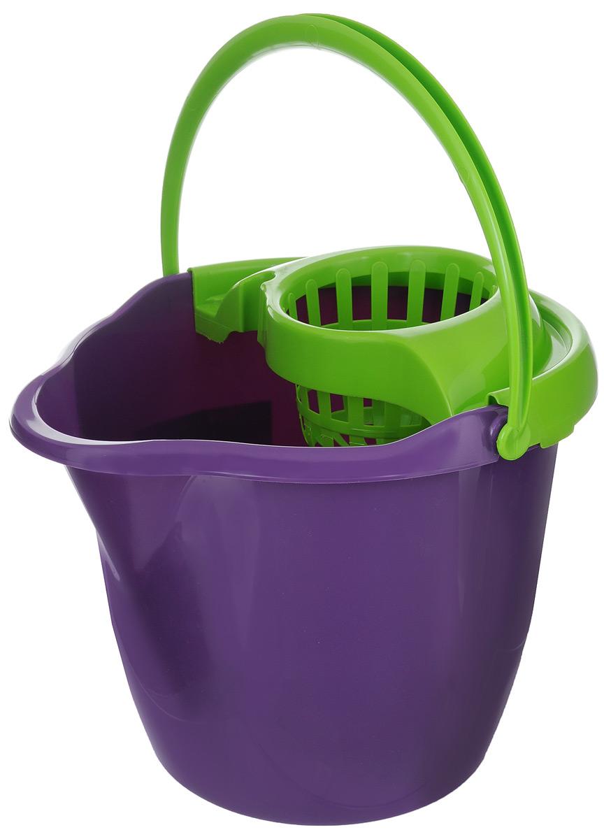Ведро с отжимом York Prestige, цвет: фиолетовый, салатовый, 12 л7007Ведро с отжимом York Prestige изготовлено из сложных полимеров. Изделие оснащено съемной вставкой для отжима швабры и удобной ручкой для переноски. Такое ведро пригодится в каждом доме, а стильный дизайн сделает его желанным для любой хозяйки. Размер ведра (по верхнему краю): 32 см х 30 см. Высота (без учета вставки для отжима): 26,5 см.