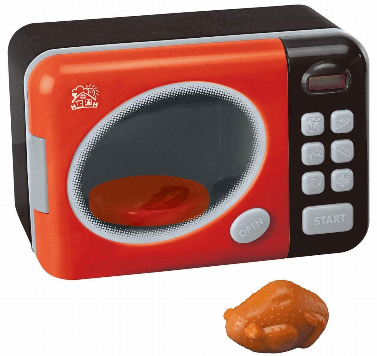 Playgo Микроволновая печь ДелюксPlay 3640Микроволновая печь Playgo Делюкс со световыми и звуковыми эффектами непременно понравится вашему ребенку и не позволит ему скучать. Она выполнена из прочного пластика и выглядит совсем как настоящая. Прибор имеет 6 режимов готовки: варка кукурузы, приготовление рыбы, запекание курицы, приготовление хот- догов, размораживание, выпекание хлебобулочных изделий. Выберите нужный режим нажатием соответствующей кнопки, печка автоматически покажет на дисплее, сколько времени требуется на приготовление пищи в выбранном режиме. Далее нажмите кнопку START. После приготовления раздастся предупреждающий сигнал. Нажмите на кнопку OPEN, чтобы дверца открылась. Во время работы микроволновая печь издает реалистичные звуки, внутри вращается круглая подставка и работает подсветка. В комплект с печью входит курица. Такая игрушка поможет ребенку развить звуковое восприятие, мелкую моторику рук и координацию движений, а также станет важным элементом сюжетно-ролевых игр...