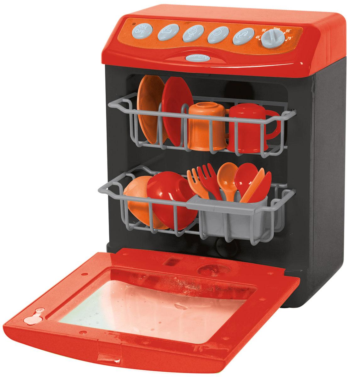 Playgo Посудомоечная машина ДелюксPlay 3635Посудомоечная машина Playgo Делюкс непременно понравится вашему ребенку и не позволит ему скучать. Она выполнена из прочного пластика и выглядит совсем как настоящая. Панель управления имеет множество кнопок: кнопки включения-выключения, 4 программы мытья посуды, сушка, открывание дверцы, регулировка уровня температуры. Кроме того, в машине имеется подсветка. Также в комплект входят 2 выдвижные полки для посуды, подставка для столовых приборов, 2 чашки, 2 вилки, 2 ножа, 2 тарелки и 2 миски. Чтобы загрузить грязную посуду в машину, необходимо нажать кнопку OPEN. Во время работы машина издает реалистичные звуки, имитирующие циркуляцию воды и сушку. Такая игрушка поможет ребенку развить звуковое восприятие, мелкую моторику рук и координацию движений, а также станет важным элементом сюжетно-ролевых игр ребенка и познакомит его с работой настоящих бытовых приборов. Порадуйте вашего малыша таким замечательным подарком! Необходимо докупить 3 батарейки...