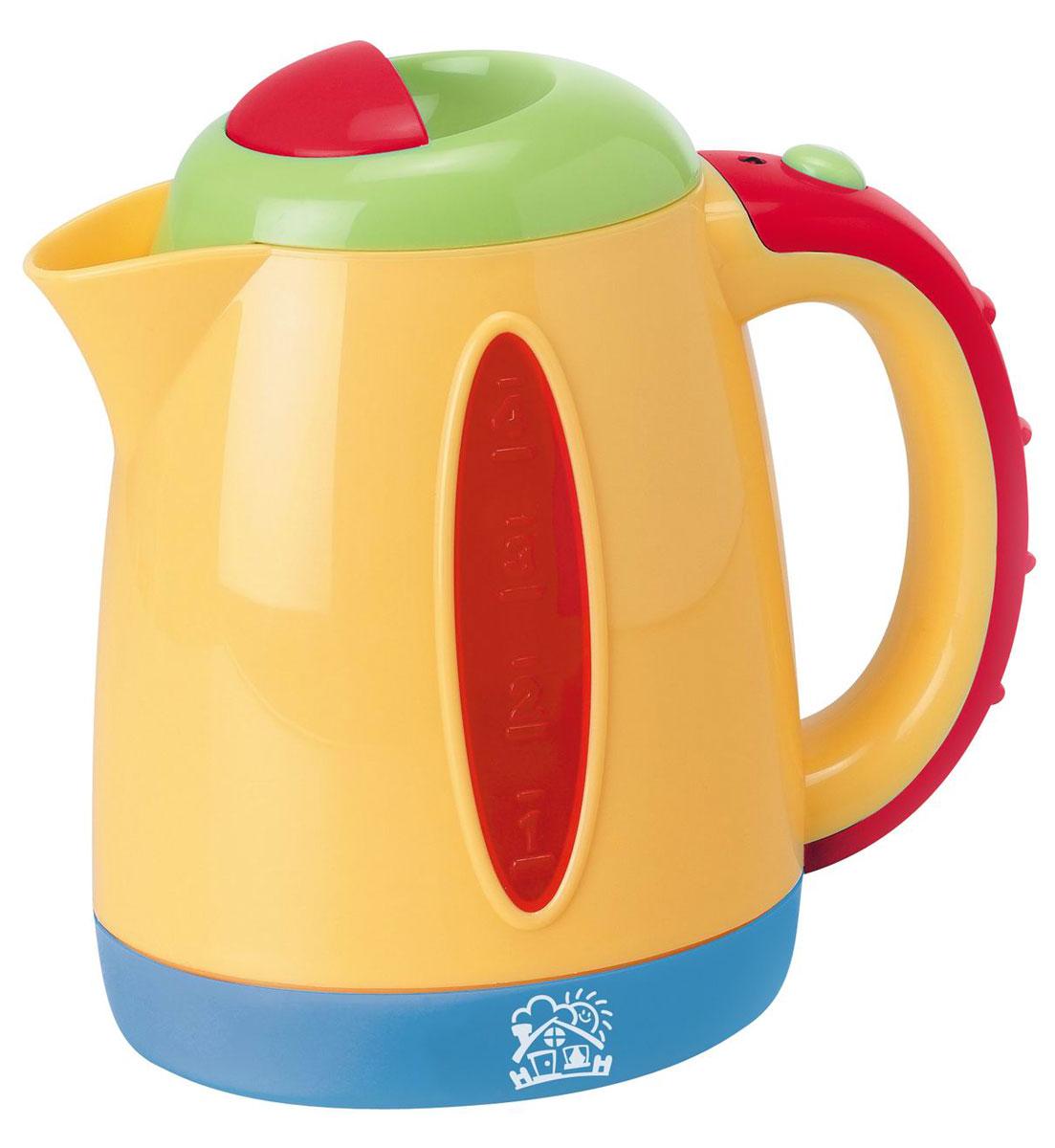 Playgo Чайник My boiling kettlePlay 3170Чайник Playgo My boiling kettle непременно понравится вашему ребенку и не позволит ему скучать. Он выполнен из прочного пластика ярких цветов и оснащен световыми и звуковыми эффектами. Красочный маленький чайник имеет удобную ручку для переноски, подходящую для маленьких пальчиков малыша. Он имеет вставки из прозрачного пластика на боковых сторонах. При включении чайника индикатор на его корпусе загорится и раздастся звук кипения, а если чайник наклонить - зазвучит реалистичное журчание льющейся воды. Такая игрушка поможет ребенку развить звуковое восприятие, мелкую моторику рук и координацию движений. Также, такая игрушка станет важным элементом сюжетно-ролевых игр ребенка и познакомит его с работой настоящих бытовых приборов. Порадуйте вашего малыша таким замечательным подарком! Рекомендуется докупить 3 батарейки типа АА (товар комплектуется демонстрационными).