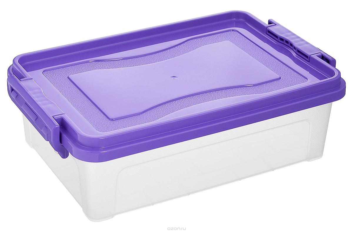Контейнер для хранения Idea, прямоугольный, цвет: прозрачный, фиолетовый, 10,5 лМ2862Контейнер для хранения Idea выполнен из высококачественного полипропилена. Контейнер снабжен двумя пластиковыми фиксаторами по бокам, придающими дополнительную надежность закрывания крышки. Вместительный контейнер позволит сохранить различные нужные вещи в порядке, а герметичная крышка предотвратит случайное открывание, защитит содержимое от пыли и грязи.