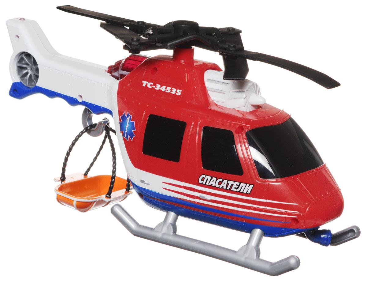 Toystate Вертолет службы спасения34535TS-R_вертолетИгрушка Toystate Вертолет службы спасения со звуковыми и световыми эффектами, несомненно, понравится вашему ребенку и не позволит ему скучать. Игрушка выполнена в виде спасательного вертолета с лебедкой и люлькой для эвакуации раненых. При нажатии на кнопки, расположенные на хвосте, светятся сигнальные огни вертолета, воспроизводятся звуки двигателя, музыка, турбина вращается. Машинка оснащена инерционным механизмом. Ваш ребенок часами будет играть с вертолетом, придумывая различные истории. Порадуйте его таким замечательным подарком! Для работы игрушки необходимы 3 батарейки типа АA (товар комплектуется демонстрационными).