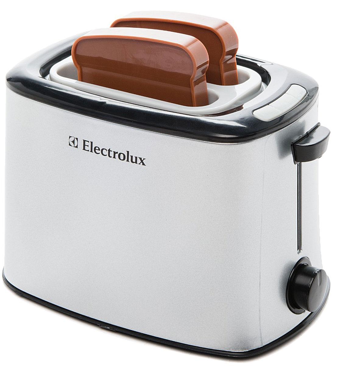 Klein Игровой набор Electrolux Тостер9215Игрушечная копия тостера ELECTROLUX. Работает без батареек. Вставьте пластмассовые кусочки хлеба, входящие в комплект, в тостер. Когда время закончится, раздастся звонок и тосты сами выпрыгнут из тостера.