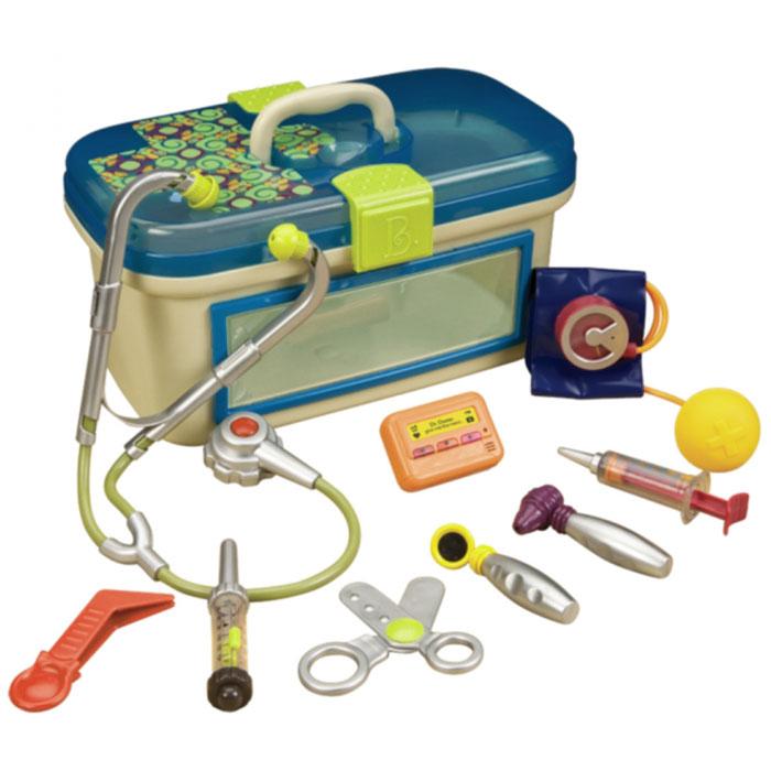Battat Игровой набор Dr. Doctor, цвет: синий, 9 предметов68611Игровой набор Dr. Doctor, несомненно, привлечет внимание вашего малыша и не позволит ему скучать. Набор включает девять различных предметов, имитирующих медицинские инструменты: стетоскоп со звуковыми эффектами, пейджер со световыми и звуковыми эффектами, отоскоп, аппарат для измерения давления, пинцет, зеркальце, безопасный шприц, безопасные ножницы и градусник. Элементы набора хранятся в удобном пластиковом чемоданчике с синей крышкой и прозрачными окошками. С таким набором все куклы и игрушки вашего ребенка будут абсолютно здоровы! Игровой набор Dr. Doctor поможет развить мелкую моторику рук, координацию движений, ловкость, фантазию и воображение, получить некоторые социальные навыки. Характеристики: Материал: пластик, картон, ПВХ. Рекомендуемый возраст: от 18 месяцев. Размер упаковки: 35 см x 22 см x 18 см. Рекомендуется докупить 2 батареи напряжением 1,5V типа AAA (не входят в комплект), необходимо докупить 3...