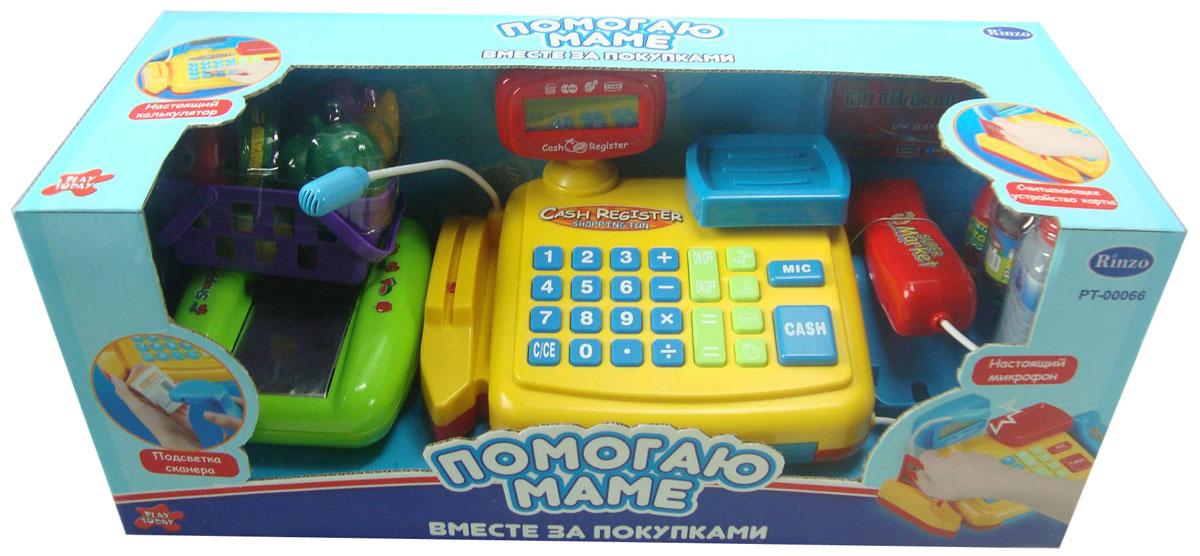 Rinzo Игровой набор Касса: Помогаю маме с аксессуарамиPT-00066(34368)Игровой набор Касса: Помогаю маме со световыми и звуковыми эффектами позволит малышу напрямую соприкоснуться с миром торгово-потребительских отношений. Набор включает в себя кассовый аппарат с весами и микрофоном, продукты питания, корзину, кредитную карту и деньги. Уникальный кассовый аппарат совсем как настоящий: он оснащен сканером штрих-кодов товара, терминалом для работы с кредитной картой, кнопками с цифрами, ключом и отсеком для хранения денег. Также этот кассовый аппарат можно использовать в качестве калькулятора. С помощью этого набора ваш ребенок сможет научиться считать, правильно вести себя в магазине и делать покупки. Порадуйте его таким замечательным подарком!