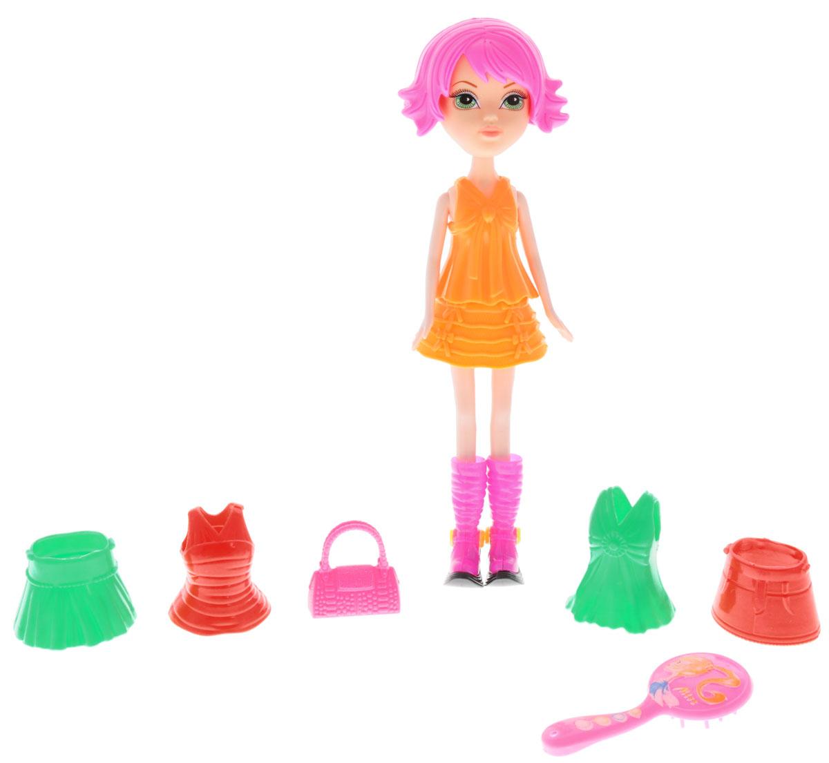 1TOY Кукла Красотка Фэшн с одеждой цвет платья оранжевыйТ57128Новая серия Красотка Фэшн - это оригинальные наборы кукол с одеждой и аксессуарами в стиле гламур. Кукла изготовлена из пластика, ее голова, ручки и ножки подвижны, что позволяет придавать ей разнообразные позы. Куколка одета в пластиковый оранжевый комплект с юбкой, но легко может сменить его на зеленый или красный. В наборе с Красоткой имеются розовая сумочка, расческа и оригинальные розовые сапоги на высоких каблуках. Благодаря играм с куклой ваша малышка сможет развить фантазию и любознательность, овладеть навыками общения и научиться ответственности, а дополнительные аксессуары сделают игру еще увлекательнее. Порадуйте свою принцессу таким прекрасным подарком!