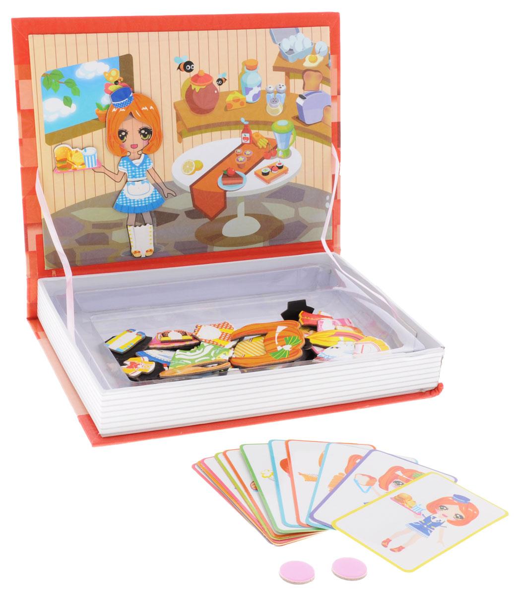 1TOY Игровой набор Магбук КафеТ57380Игровой набор 1TOY Магбук: Кафе выполнен в виде книги, в которой находятся 16 карточек-подсказок и 68 магнитных деталей. Детали выполнены из ламинированной бумаги и ламинированного картона. В процессе игры можно собирать образы, используя карточки-подсказки, а можно придумать свои собственные. Игра способствует развитию фантазии.