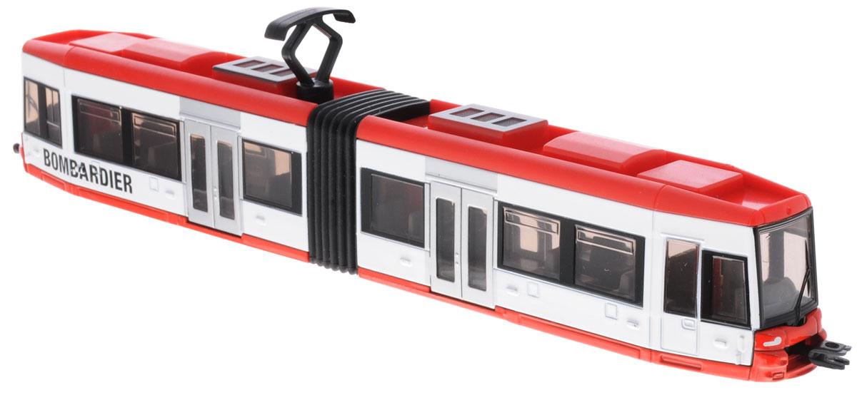 Siku Трамвай Bombardier1895Трамвай Siku выполнен из металла с элементами из пластика. Секции трамвая соединены гармошкой и могут смещаться относительно друг друга, на крыше игрушка имеет пантограф. Трамвай спереди и сзади оборудован сцепными устройствами, можно соединить несколько трамваев друг с другом. Сквозь полупрозрачные стекла трамвая хорошо видны пассажирские сиденья и место водителя. Такая модель понравится не только ребенку, но и взрослому, и приятно удивит вас высочайшим качеством исполнения.