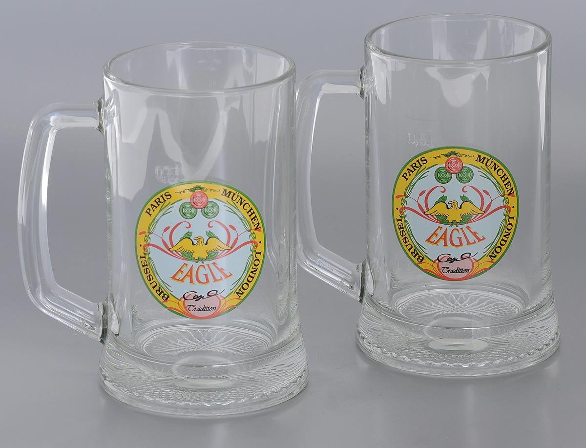 Набор кружек для пива Luminarc Dresden, 500 мл, 2 штH5549Набор Luminarc Dresden состоит из двух кружек для пива. Изделия выполнены из прочного натрий-кальций-силикатного стекла. Кружки декорированы красочной деколью с изображением орла. Такой набор станет отличным приобретением для любителей пенного напитка. Можно мыть в посудомоечной машине. Диаметр кружки (по верхнему краю): 9 см. Высота кружки: 16 см.