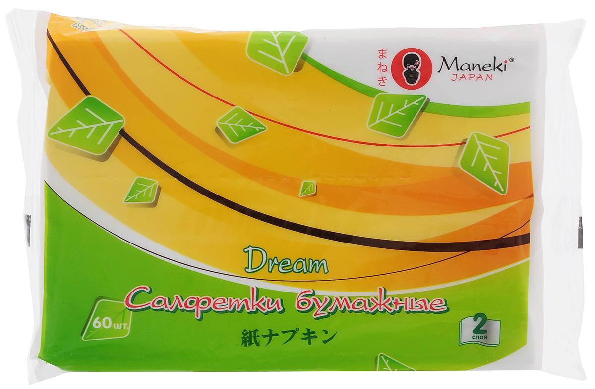 Салфетки бумажные Maneki Dream, цвет: белый, 2 слоя, 60 штFT1590Бумажные двухслойные салфетки Maneki Dream класса Премиум произведены из 100% целлюлозы. Салфетки хорошо впитывают влагу и не оставляют бумажной пыли. Салфетки мягкие и шелковистые, не вызывают раздражения кожи, подходят для косметических целей. Размер листа: 19,5 см х 14 см. Количество слоев: 2. Количество салфеток: 60 шт.