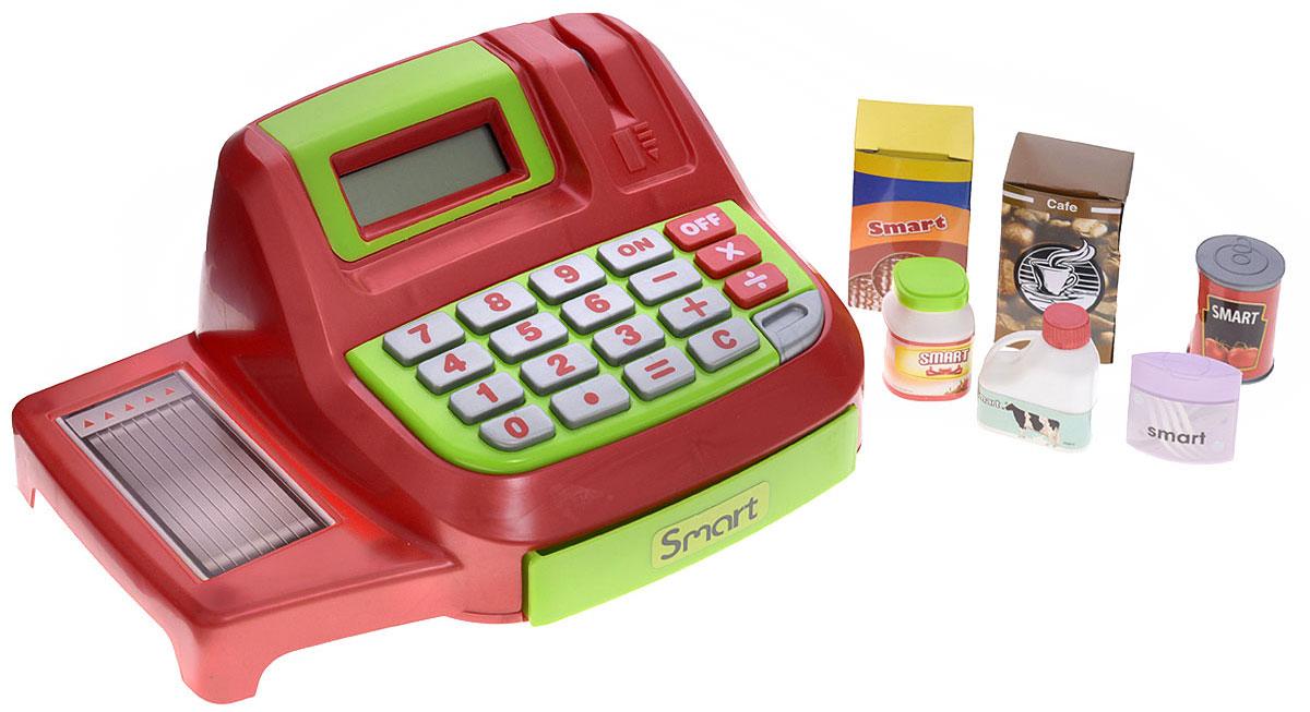 HTI Игровой набор Кассовый аппарат Smart1680621.00Игровой набор HTI Кассовый аппарат Smart со звуковыми эффектами позволит малышу напрямую соприкоснуться с миром торгово-потребительских отношений. Набор включает в себя кассовый аппарат, продукты питания (молоко, майонез, кофе, томаты, печенье), банковскую карту и деньги (купюры и монеты). Уникальный кассовый аппарат совсем как настоящий: он оснащен конвейерной лентой для передвижения продуктов, терминалом для работы с банковскими картами, монитором и отсеком для хранения денег, открывающимся при помощи специальной кнопки. Также кассовый аппарат можно использовать как обычный калькулятор. С помощью этого набора ваш ребенок сможет научиться правильно вести себя в магазине и делать покупки. Порадуйте его таким замечательным подарком! Рекомендуется докупить 2 батарейки напряжением 1,5V типа AA (товар комплектуется демонстрационными).