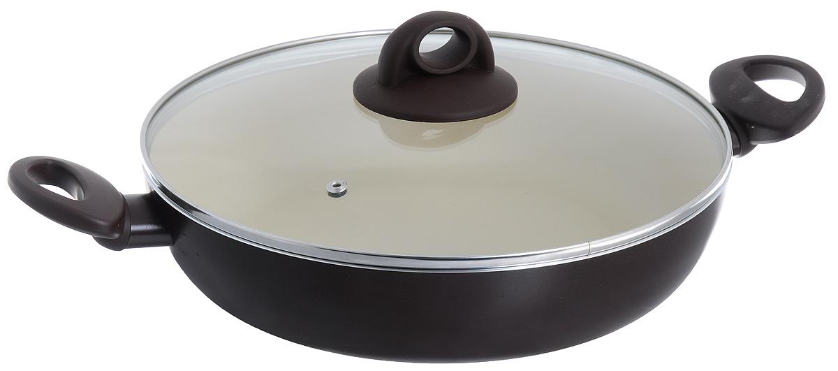 Жаровня Jarko Dark Chocolate с крышкой, с антипригарным покрытием. Диаметр 28 смJDC-728-21Жаровня Jarko Dark Chocolate изготовлена из высококачественного алюминия со светлым внутренним антипригарным покрытием нового поколения. Покрытие, позволяющее готовить при высоких температурах (до 240°С), не оставляет послевкусия, делает возможным приготовление блюд без масла, сохраняет витамины и питательные вещества. Оно обладает повышенной стойкостью к царапинам и внешним воздействиям. Покрытие экологически безопасно, не содержит PFOA и не выделяет вредных соединений при нагреве. Внешнее жаростойкое покрытие коричневого цвета обеспечивает легкую чистку. Улучшенная теплопроводимость обеспечивает моментальный нагрев и работу в энергосберегающем режиме. Жаровня оснащена эргономичными ручками из бакелита с покрытием Soft-Touch. Крышка, изготовленная из жаростойкого стекла, позволяет следить за процессом приготовления блюд без потери тепла. Жаровня пригодна для использования на всех типах плит, кроме индукционных. Подходит для чистки в посудомоечной...