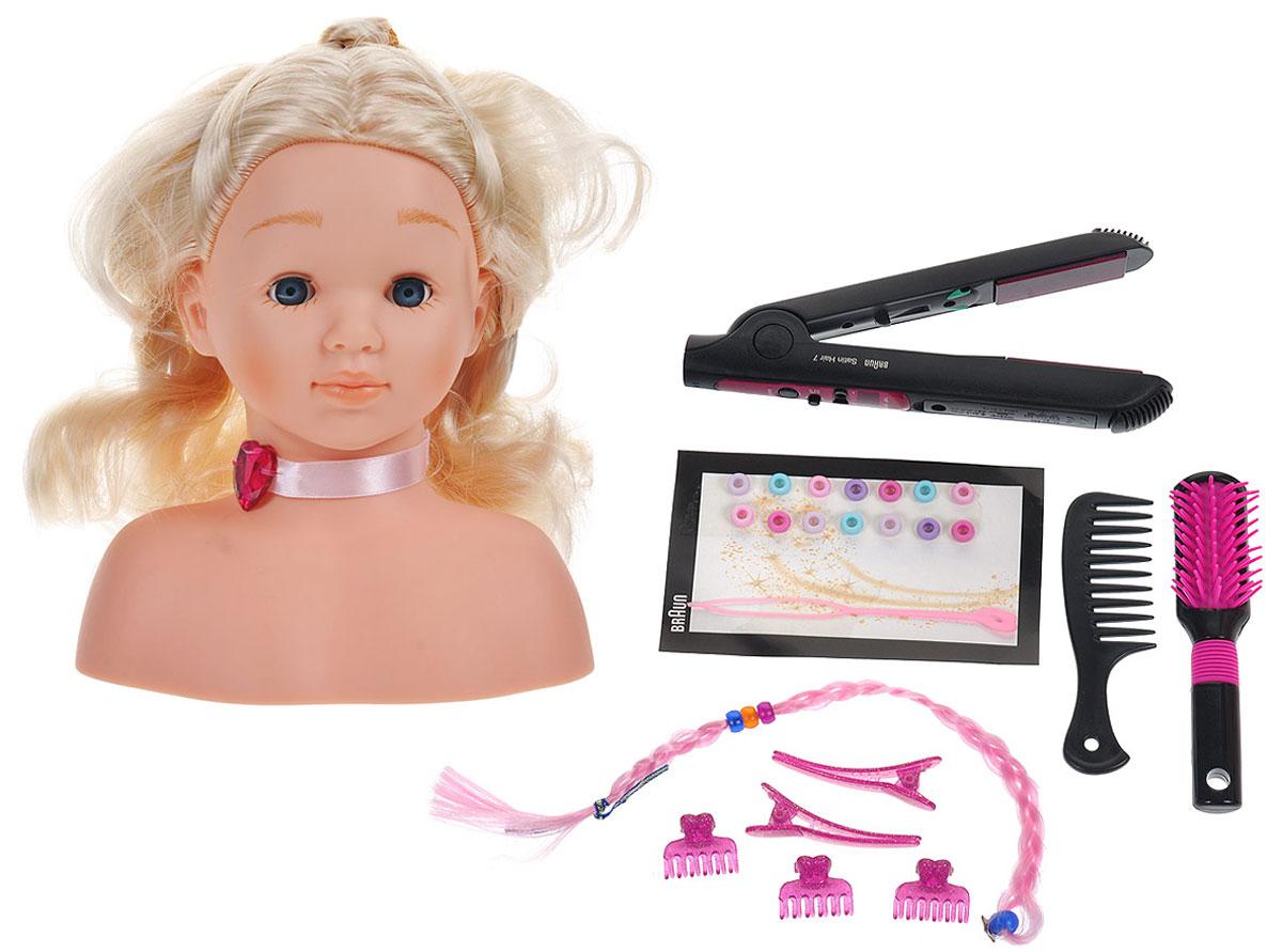 Klein Игровой набор Braun Satin Hair 7 Модель для причесок5245Игровой набор Klein Braun Satin Hair 7. Модель для причесок непременно понравится вашей маленькой принцессе! Набор включает торс куклы с длинными светлыми волосами, выпрямитель для волос, щетку, расческу, 2 заколки-зажима, 3 крабика, заплетенную в косичку прядь волос светло-розового цвета, маленькие заколочки и специальную насадку для закрепления их на волосах. При включении утюжка нажатием на кнопку пластины подсвечиваются красным светом. Ваша малышка часами будет играть с этим набором, устраивая дома свою парикмахерскую. Порадуйте ее таким замечательным подарком! Необходимо докупить 1 батарейку напряжением 1,5V типа ААА (не входит в комплект).