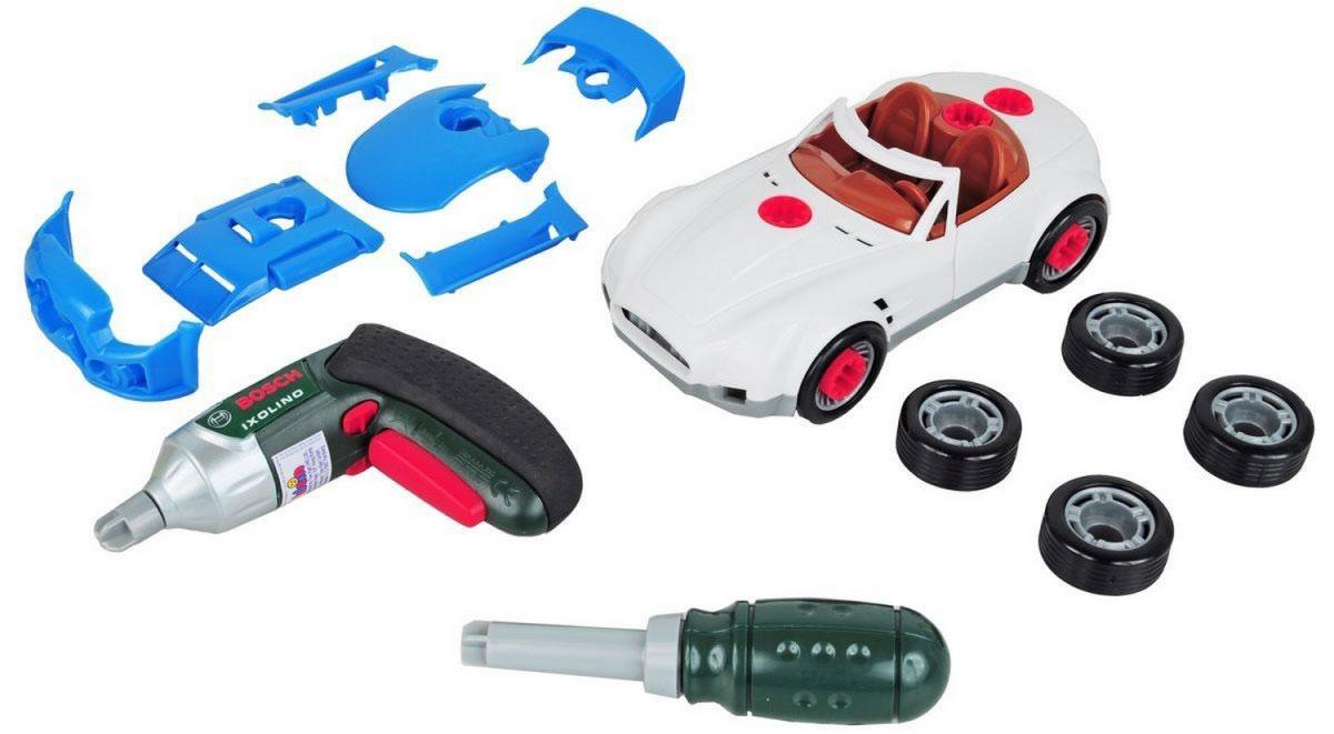 Klein Игровой набор Тюнинг-ателье 22 предмета8668Игровой набор Klein Тюнинг-ателье даст вашему маленькому автолюбителю возможность почувствовать себя настоящим стритрейсером. С помощью него он сможет не только собирать и разбирать свою машинку, но и превращать ее при желании в гоночный спорткар. В набор входят машина, 10 элементов для ее тюнинга (4 дополнительных колеса и 6 накладок на корпус), восемь скрепляющих элементы шурупов, отвертка со сверлом, прокручивающимся со звуком трещотки, шуруповерт с крутящейся насадкой, являющийся уменьшенной копией шуруповерта фирмы BOSCH, и инструкция на русском языке. Для работы шуруповерта необходимо докупить 2 батарейки напряжением 1,5V типа ААА (не входят в комплект).