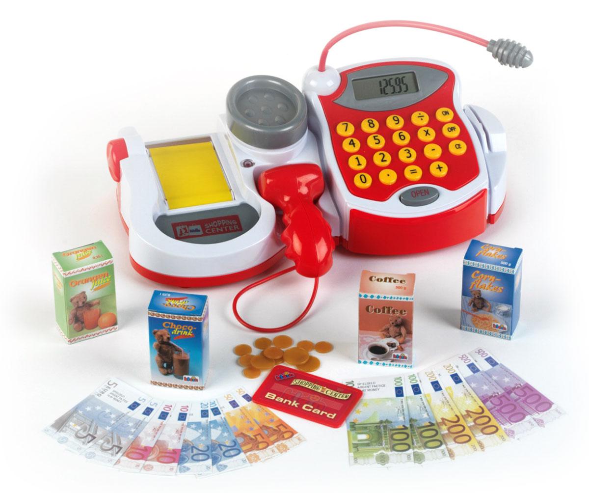 Klein Игровой набор Электронный кассовый центр9373Игровой набор Klein Электронный кассовый центр позволит вашему ребенку напрямую соприкоснуться с миром торгово-потребительских отношений. Набор включает в себя кассовый центр с электронным табло и встроенным калькулятором, микрофоном, транспортировочной лентой, весами с подсветкой и сканером, а также игрушечные денежные купюры, пластиковую карточку, монеты разного диаметра и четыре картонных коробочки из-под продуктов. При нажатии кнопки Open или при проведении игрушечной картой сквозь специальный отсек открывается отделение для денег. Транспортировочная лента прокручивается при помощи колесика. При нажатии кнопочки на сканере загорается лампочка и раздается звуковой сигнал. С помощью этого набора ваш ребенок сможет научиться правильно вести себя в магазине и делать покупки. Порадуйте его таким замечательным подарком! Необходимо докупить 3 батареи напряжением 1,5V типа АА (не входят в комплект).