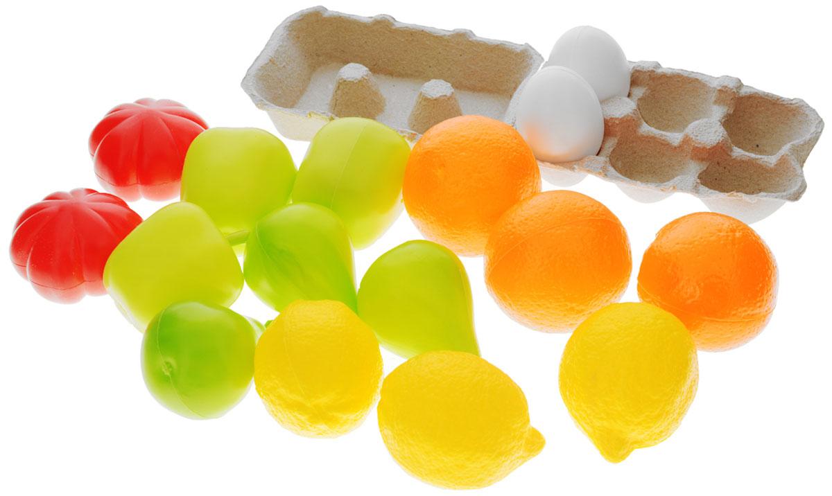 Molto Игровой набор Продукты 17 предметовM 341EИгровой набор Molto Продукты непременно понравится вашему малышу. Он выполнен из безопасного пластика и включает следующие муляжи продуктов: 3 апельсина, 2 яйца, контейнер для яиц, 2 томата, 3 яблока, 3 груши и 3 лимона. Игрушки удобно помещаются в детской ладони, не имеют острых углов и абсолютно безопасны для ребенка. Этот замечательный набор поможет ребенку развить мелкую моторику рук и координацию движений, а также станет важным элементом сюжетно-ролевых игр. Порадуйте его таким замечательным подарком!