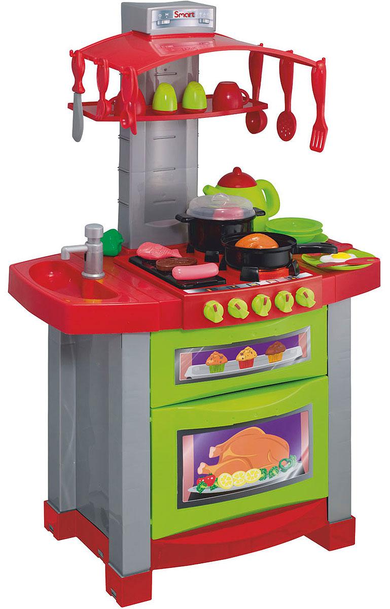 Smart Игровой набор Модная электронная кухня 29 предметов1680617.00Если ваш ребенок любит помогать маме на кухне, играть с посудой, варить и жарить, но вам приходится ограничивать его в игре с бьющимися предметами кухонной утвари, то эта детская кухня создана специально для юного поваренка. Smart Модная электронная кухня - многофункциональная кухня ресторанного типа со звуковыми и световыми эффектами. Она состоит из варочной поверхности, духовки, раковины и сервировочной стойки. В набор входят аксессуары для игры: 2 глубоких тарелочки, 2 плоских тарелочки, 2 ложки, 2 вилки, 2 столовых ножа, 2 кружки, нож для резки мяса, солонка и перечница, половник, лопатка для переворачивания, шумовка, сковорода, кастрюля с крышкой, чайник с крышкой, продукты: кусок мяса, яичница глазунья, сосиска, рыбка, курица, помидор и перец. Реалистичные звуки сделают игру еще интереснее. При включении конфорки раздается звук электроподжига и загораются лампочки, звук горящего газа. При установке на конфорку кастрюльки раздается бульканье кипящей воды,...