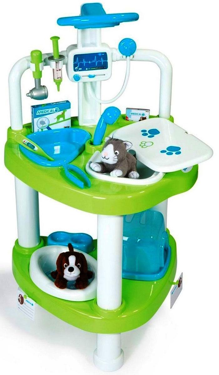 Smoby Игровой набор Ветеринарная мини-клиника24650Игровой набор Smoby Ветеринарная мини-клиника приведет в восторг любого малыша, который любит животных или мечтает стать ветеринаром. Набор включает в себя выполненную из высокопрочного пластика сборную тележку, две мягких игрушки в виде собачки и котенка и целый набор медицинских принадлежностей: упаковку лекарства, упаковку средства от блох, градусник, отоскоп, шприц, пинцет, 2 карточки пациента и кормушку. Ветеринарная мини-клиника станет любимой игрушкой для каждого отзывчивого и доброго малыша. Ребенок с радостью будет лечить своих плюшевых питомцев. О зверях нужно заботиться, поэтому маленькие собачка и кошечка, которые входят в комплект, станут самыми верными друзьями и помощниками вашему малышу. Взрослые также могут принять участие в игре и познакомить малыша с назначением и способами применения различных ветеринарных инструментов. Мини-клиника является двухэтажной. В верхней части столика располагаются операционный стол с устройством для аускультации, специальной...