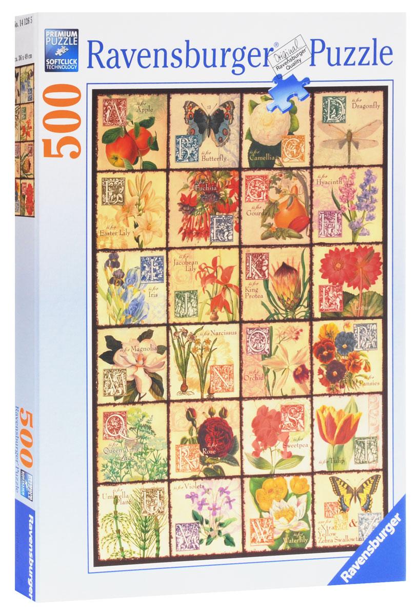 Ravensburger Пазл Винтажные цветы14126Пазл Ravensburger Винтажные цветы станет отличным развлечением для всей семьи. Собрав этот пазл, включающий в себя 500 элементов, вы получите винтажный иллюстрированный алфавит с рисунками цветов и бабочек в старинном стиле. Таким изображением можно украсить стену в детской комнате или в школьном классе. Пазлы - прекрасное антистрессовое средство для взрослых и замечательная развивающая игра для детей. Собирание пазла развивает у ребенка мелкую моторику рук, тренирует наблюдательность, логическое мышление, знакомит с окружающим миром, с цветом и разнообразными формами, учит усидчивости и терпению, аккуратности и вниманию.