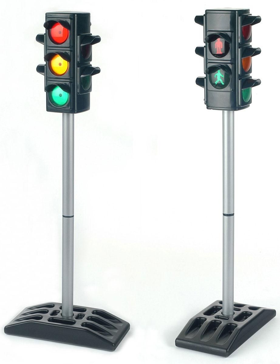 Klein Игрушка Светофор 72 см2990Игрушка Klein Светофор со световыми эффектами приведет в восторг вашего маленького автолюбителя. Светофор выполнен из прочного пластика и является четырехсторонним: сигналы переключаются синхронно с четырех сторон. Две стороны светофора подают один из трех традиционных сигналов для машин, другие две регулируют движение пешеходов. Игрушка работает в двух режимах переключения: автоматическом и ручном (путем нажатия на кнопку сверху светофора). Игрушка Klein Светофор прекрасно подойдет для домашних игр в машинки и для моделирования дорожного движения в детском саду, школе, секциях. Необходимо докупить 4 батарейки напряжением 1,5V типа АА (не входят в комплект).