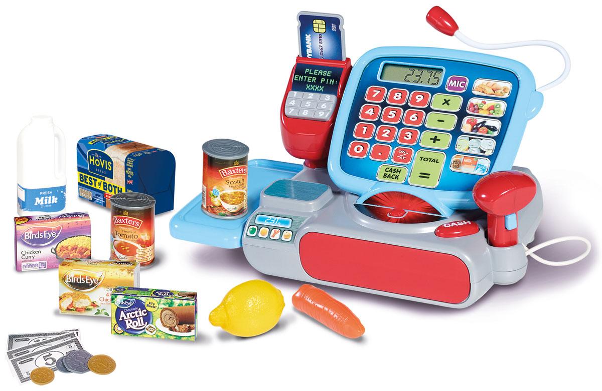 Casdon Кассовый аппарат Супермаркет с аксессуарами664Кассовый аппарат Casdon Супермаркет позволит вашему ребенку напрямую соприкоснуться с миром торгово-потребительских отношений. Набор включает в себя кассовый аппарат с электронным табло и кнопками как на калькуляторе, игрушечные денежные купюры, сканер и монеты разного диаметра. При нажатии кнопки Cash, открывается отделение для денег. Чудесная цветовая гамма, многофункциональность, возможность использования сканера, микрофона и сенсорного экрана сделает игру более приятной и увлекательной. Сканер работает со световыми и звуковыми эффектами. Если положить что-нибудь на весы, то на мониторе высветятся цифры. С помощью этого набора ваш ребенок сможет научиться правильно вести себя в магазине и делать покупки. Порадуйте его таким замечательным подарком! Необходимо докупить 3 батареи напряжением типа АА (не входят в комплект).