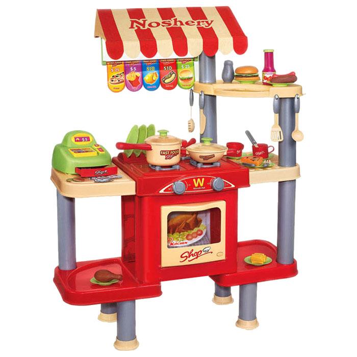 Shantou Gepai Игровой набор Кафе с кассой продуктами и посудой383-009Ростовой набор Кафе с кассой, продуктами и посудой станет замечательным подарком. Если к вам в дом нагрянут маленькие гости, им будет чем заняться! Ведь этот набор идеально подойдет для сюжетно-ролевой игры в кафе. Игрушка представляет собой конструкцию со столешницей, на которой расположена плита с духовкой, сборку приделаны полочки для посуды и продуктов, также стойка оборудована кассовым аппаратом. Повар готовит еду, кассир принимает оплату у покупателей и т.д. Игрушка со световыми и звуковыми эффектами, работает от батареек.