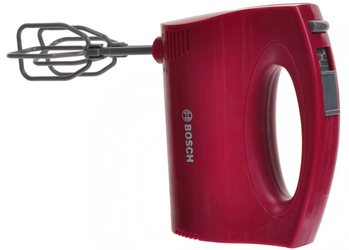 Klein Игрушка Миксер Bosch, цвет: красный9574Миксер Klein Bosch, непременно, понравится вашей маленькой хозяйке! Миксер выполнен из прочного пластика и очень похож на оригинальный продукт фирмы Bosch. Миксер оснащен двумя съемными насадками, которые вращаются при нажатии на кнопочку. Также предусмотрен регулятор скорости. С таким миксером все игрушки вашего ребенка будут сытыми. Необходимо докупить батарею напряжением 1,5V типа АА.
