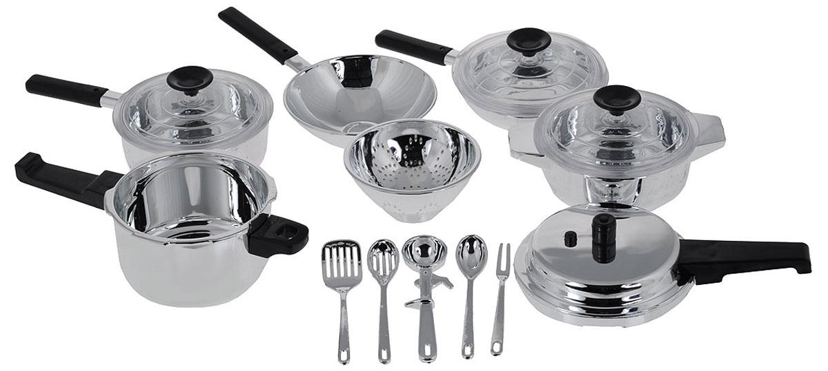 Casdon Набор детской посуды Pan Set 15 предметов502-CНабор детской посуды Casdon Pan Set, несомненно, привлечет внимание вашего маленького помощника и не позволит ему скучать. Набор хромированной столовой посуды состоит из скороварки, котла с выпуклым днищем, сковородки с ручкой, четырех крышек, жаровни, дуршлага, а также пяти столовых приборов. С этим набором маленькая хозяйка будет часами занята игрой и сможет вкусно накормить всех своих кукол.