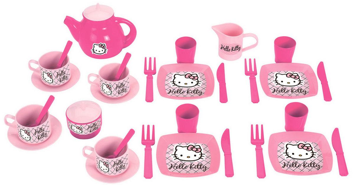 Ecoiffier Набор детской посуды Hello Kitty 33 предмета2609С набором посуды Ecoiffier Hello Kitty, состоящим из 33 предметов, ваша малышка сможет приготовить вкусную еду и накормить всех своих игрушек. Все элементы набора, изготовленные из пластика, представляют собой уменьшенную копию настоящей кухонной посуды. В наборе есть тарелки, чашки, блюдца, сковородка, чайник, кувшин, сахарница и набор столовых приборов. С таким набором все куколки вашей малышки будут сытыми.