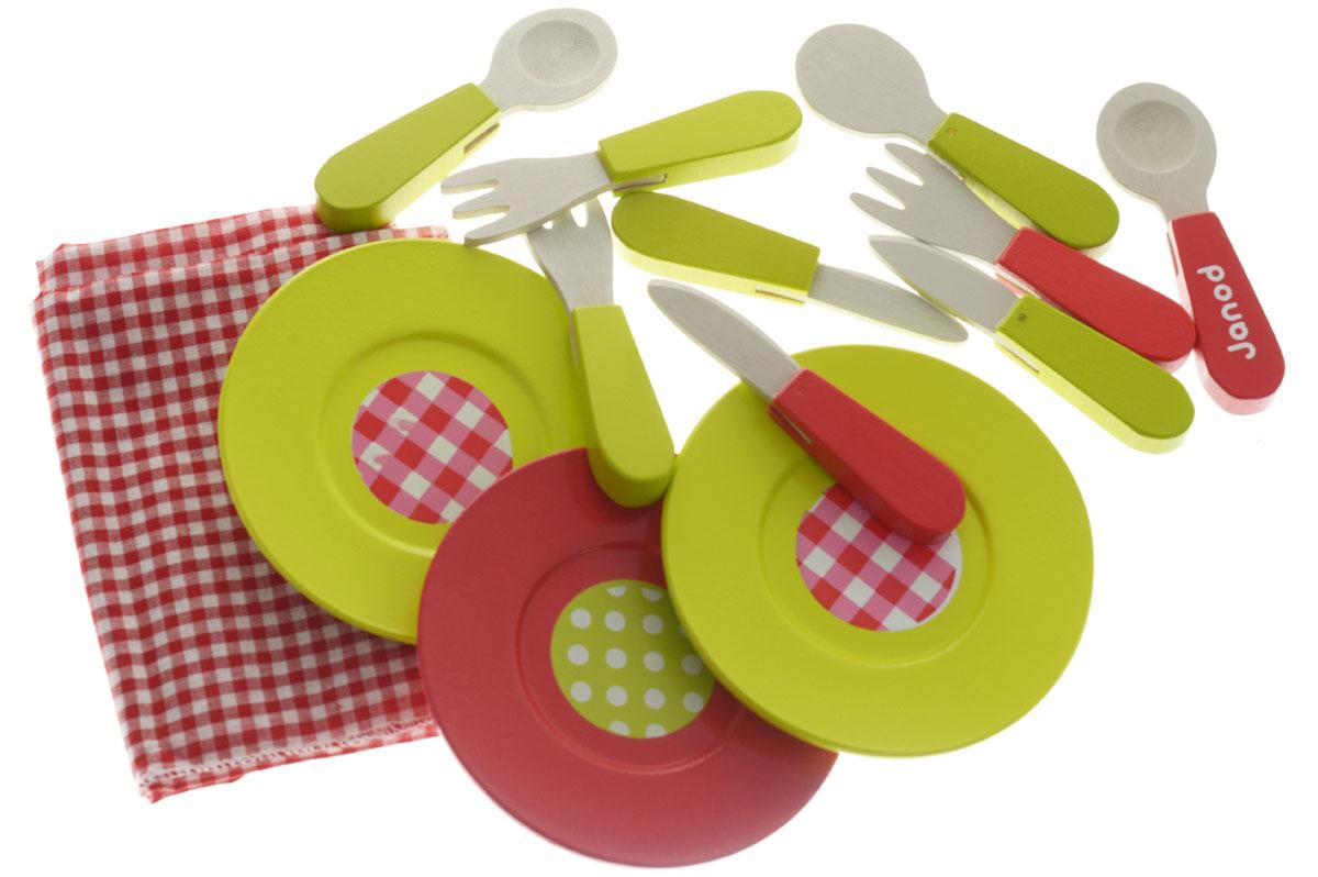 Janod Набор детской посуды Пикник 21 элементJ06524Замечательный, очень изысканный набор посуды Janod Пикник прекрасно подойдет ребенку для веселых игр. В комплекте посуда для кукольного пикника на 4 персоны: 4 тарелочки, 4 стаканчика, 4 ложечки, 4 вилочки, 4 ножа и текстильная скатерть. Самые натуральные и безопасные игрушки для малышей и детей постарше премиум-класса. Все игрушки и игровые наборы сделаны из натуральной древесины или картона и выкрашены нетоксичными красками. Такой набор станет прекрасным дополнением к игровой ситуации с приглашением гостей к столу. Игрушки Janod выставляют на международных выставках под маркой green toys (зеленые игрушки, т.е. экологически безопасные). Рекомендуемый возраст: от 3 до 8 лет.