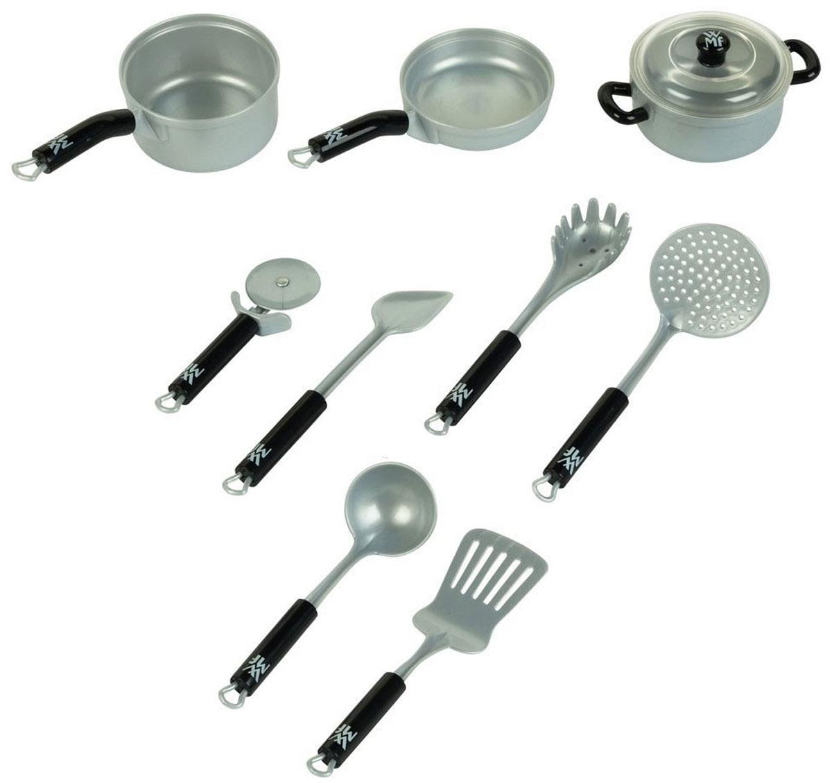 Klein Набор детской посуды WMF 10 предметов9428Набор детской посуды Klein WMF, несомненно, привлечет внимание вашей малышки и не позволит ей скучать. Набор содержит кастрюльку с крышкой, ковшик, сковороду, перфорированную лопатку, шумовку, половник, ложку для спагетти, лопатку и нож для пиццы. С этим набором маленькая хозяйка будет часами занята игрой и сможет вкусно накормить всех своих кукол.