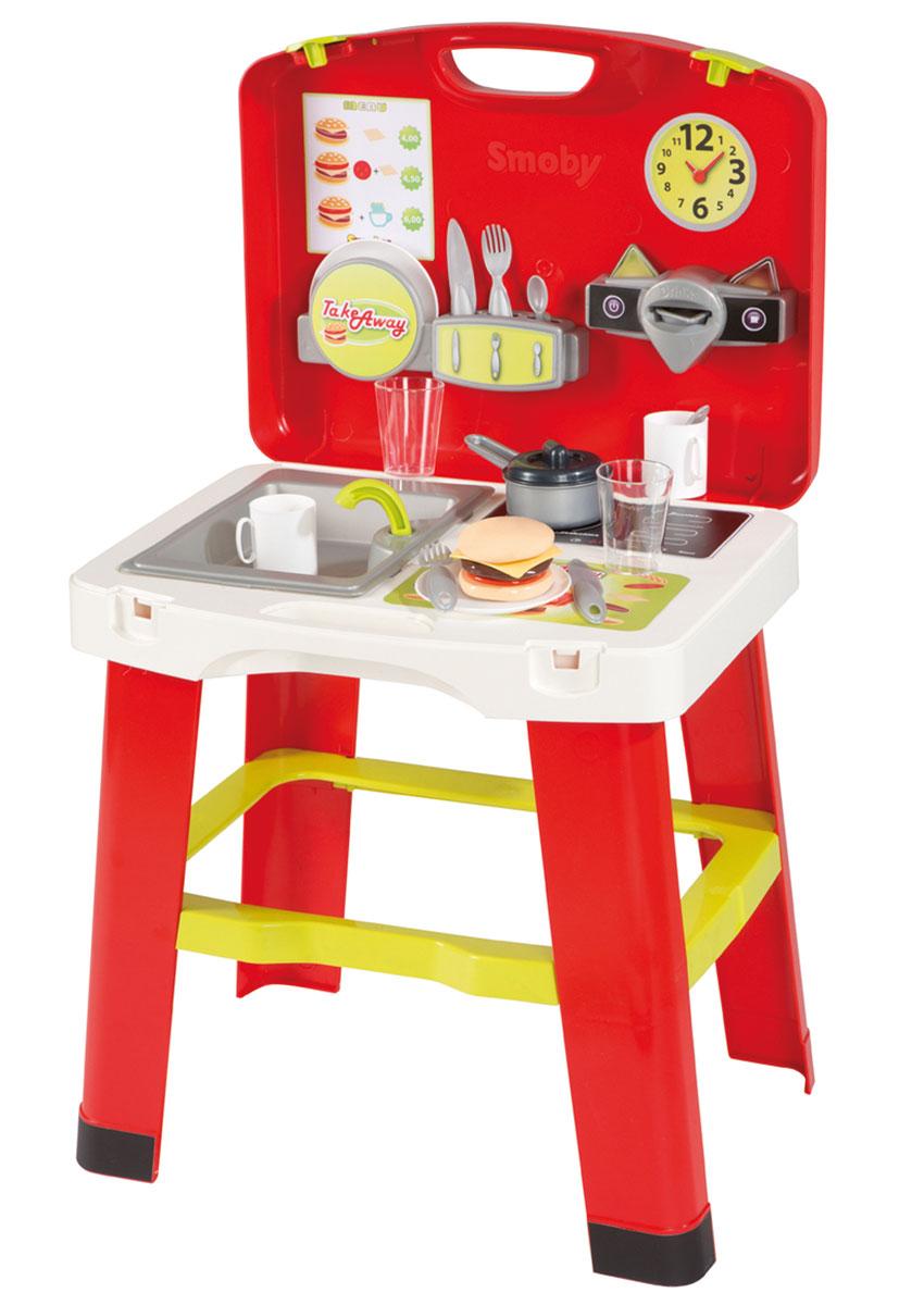 Smoby Игровой набор Кухня в чемоданчике24171Игровой набор Smoby Кухня в чемоданчике - это переносная кухня для маленьких любителей что-нибудь приготовить. Элементы набора выполнены из яркого и прочного материала. Чемоданчик в раскрытом виде представляет собой игровую кухню, оборудованную плитой с одной конфоркой, раковиной с краном, разделочным столиком, специальным контейнерами для хранения столовых приборов и тарелок, а также в наборе имеется посуда (тарелки, чашки, стаканы, вилки, ножи, ложки, ковшик с крышкой) и продукты (капсулы для приготовления кофе, чая или шоколада, а также элементы для составления гамбургера). После игры все детали кухни легко разбираются и складываются компактно в чемоданчик с ручкой для переноски, таким образом кухню можно взять с собой на дачу и готовить на природе или в гостях, чтобы показать свои кулинарные способности друзьям. Сценарии для сюжетно-ролевых игр развивают память, фантазию и дают навыки совместной организованной деятельности. Ваш ребенок будет...