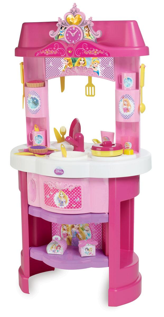 Smoby Игровой набор Кухня Принцессы Disney24023, 024023Игровой набор Кухня. Принцессы Disney непременно заинтересует маленьких хозяек. С этим набором малышка научится опрятности и порядку: сможет приготовить еду, вымыть посуду и красиво расставить кухонные принадлежности по своим местам. Кухня включает в себя стойку с мойкой для посуды, плиту, духовой шкаф и часы-ходики. Малышка сможет приготовить игрушечную еду в яркой сковородке, сервировать стол приборами и угостить своих куколок вкусными кексами из набора. В стойке предусмотрены разные крючки и полочки для посуды. Верхний ящик стойки открывается. Все элементы выполнены из высококачественных и безопасных материалов. Сюжетно-ролевая игра не только развлекает ребенка, но и производит такие практические качества, как слаженность движений рук, ловкость и координацию, развивает моторику, двигательную активность, трудолюбие и гостеприимство. Порадуйте свою малышку таким замечательным подарком!