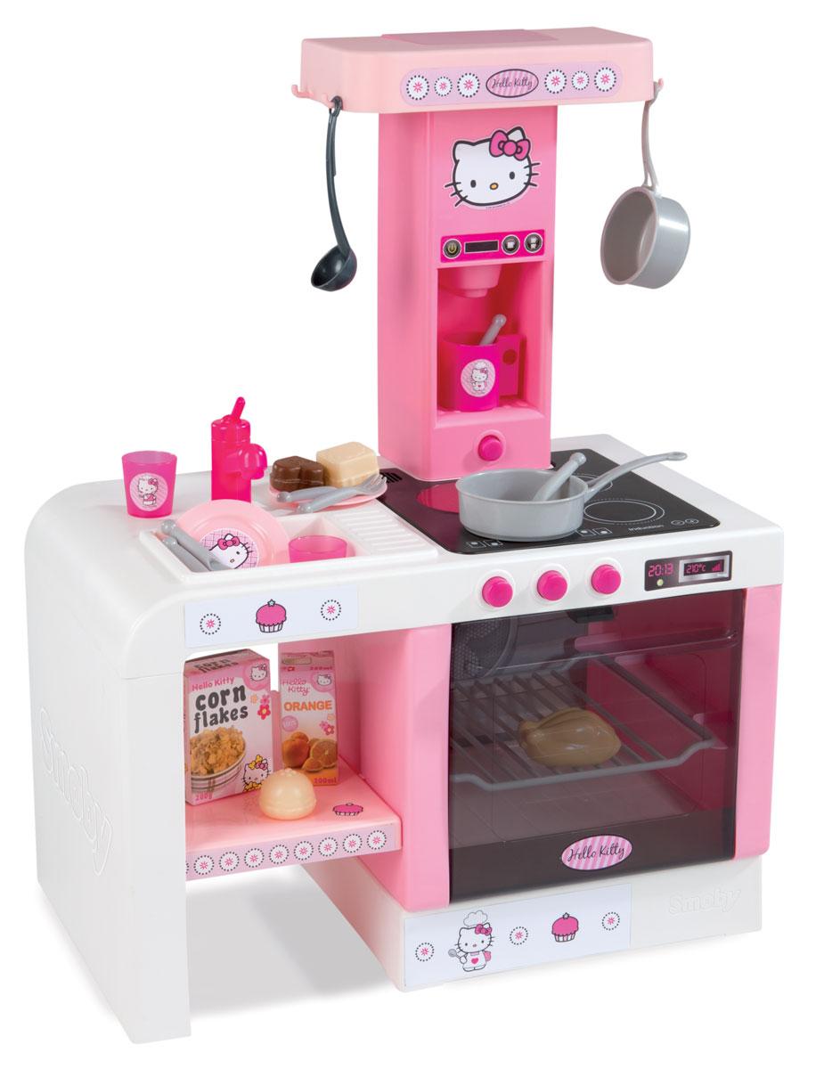 Smoby Кухня электронная Mini Tefal Cheftronic Hello Kitty24195Электронная кухня Smoby Mini Tefal Cheftronic Hello Kitty - это яркая, красивая кухня, выполнена в нежно-розовом цвете и украшена портретом Kitty. Размеры кухни позволяют разместить ее в комнате ребенка. Кухня оборудована мойкой с краном, духовым шкафом с открывающейся дверью и подсветкой, варочной панелью на 4 конфорки, имитирующей звуки приготовления еды (шипение, бульканье и др.), кофеваркой с реалистичными звуками, разделочным столиком, крючками для размещения кухонных принадлежностей и полочкой для продуктов. В комплекте с кухней идет ковшик, сковорода, половник, 3 упаковки с продуктами, 2 тарелки, 2 стакана, 2 вилки, 2 ложки, 1 кружка. Порадуйте свою маленькую хозяйку таким замечательным подарком! Для работы игрушки необходимы 3 батарейки типа АА (не входят в комплект).