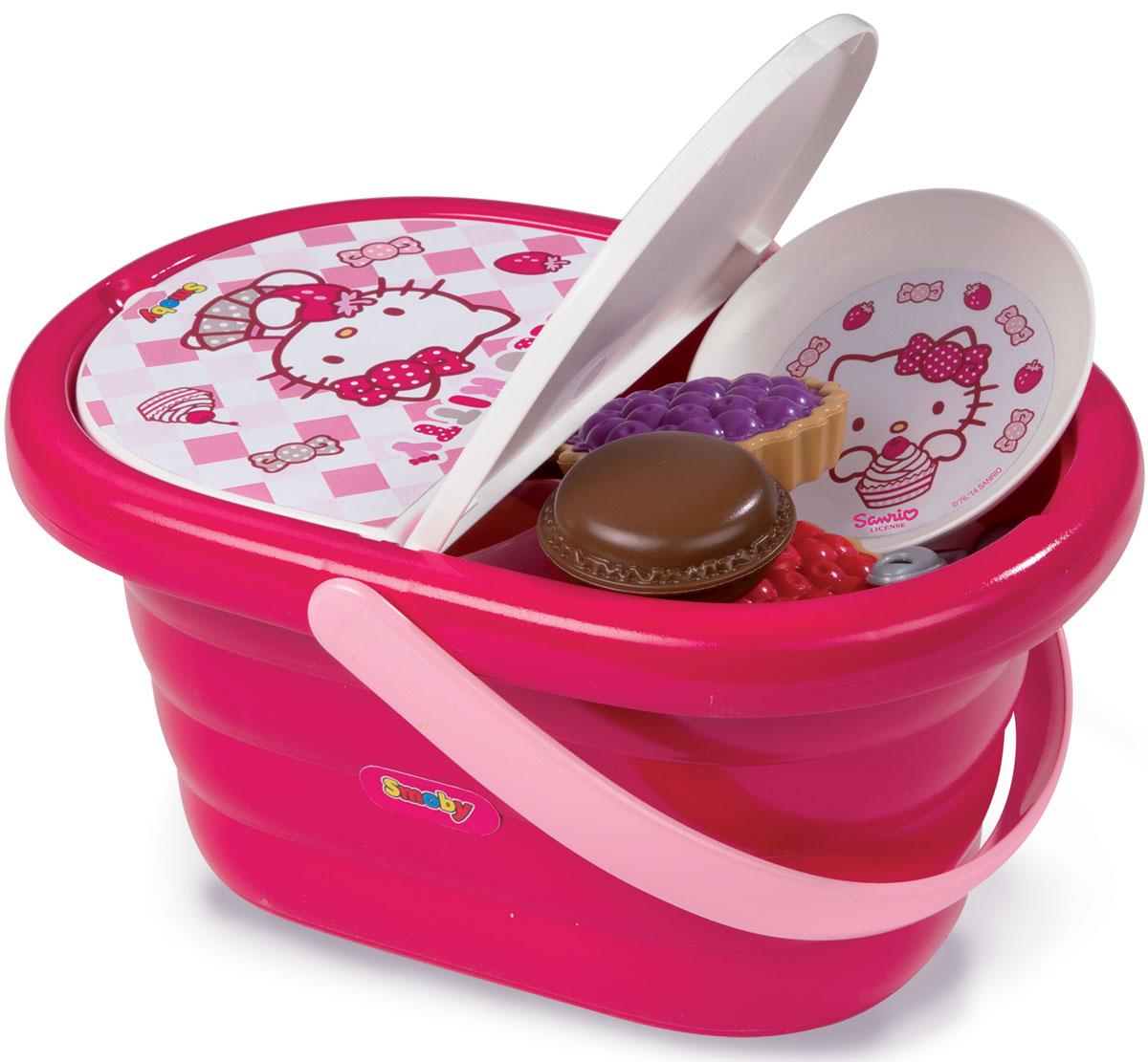 Smoby Набор посуды в корзине для пикника Hello Kitty24084Набор детской посуды Hello Kitty несомненно, привлечет внимание вашей малышки и не позволит ей скучать. Набор посуды рассчитан на три персоны. В набор входят: ложечки, вилки, ножи, тарелочки, стаканчики, кружки, молочник, сахарница и пирожные. Элементы набора выполнены из яркого пластика и оформлены изображениями всеми любимой кошечки Китти. Посуда упакована в корзинку для пикника. Корзина дополнена крышкой и удобной ручкой. С этим аксессуаром так удобно переносить посуду из комнаты в комнату или отправиться на природу для пикника на свежем воздухе! С этим набором маленькая хозяйка будет часами занята игрой и сможет устроить для своих кукол незабываемое чаепитие.