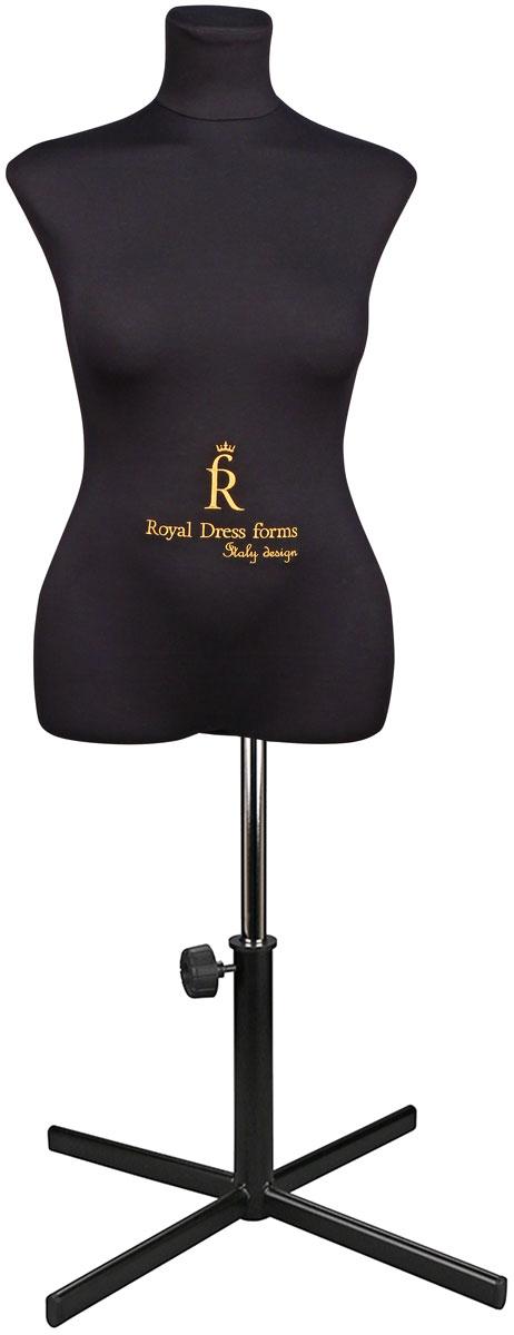 Манекен портновский Royal Dress forms Christina, с подставкой, женский, цвет: черный. Размер 464607824220469Манекен портновский Royal Dress forms Christina выполнен из эластичного полимерного материала и трикотажа. Основные преимущества: - детальные формы человеческого тела; - манекен не боится высоких температур, поэтому на нем можно отпаривать одежду, не боясь за деформацию основы; - можно накалывать изделия булавками; - можно сжимать, чтобы надеть нерастяжимые изделия; - не боится падений и сколов; - съемная обтяжка. К манекену прилагается изящная подставка Royal Dress forms Звезда, выполненная из металла, с двойной регулировкой манекена по высоте в пределах 80 см. Объем груди: 92 см. Объем талии: 72 см. Объем бедер: 99 см. Высота подставки: 35 см. Ширина подставки: 57 см. Длина хромированной трубы: 100 см.
