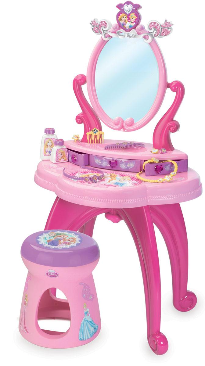 Smoby Студия красоты Принцессы Диснея со стульчиком24232Студия красоты Smoby Принцессы Диснея станет идеальным местом для вашей маленькой принцессы. Юная леди сможет любоваться в большое зеркало, которое меняет угол наклона. В данном салоне красоты продумано и предусмотрено все до мелочей: в специальных ящиках возможно хранение драгоценностей, тюбиков, флаконов. Верхнюю часть туалетного столика с полочкой и зеркалом можно снять и переставить на любую другую ровную поверхность. В комплекте со столиком имеется удобный стульчик, расчески, ободок для волос, колье, колечки, браслет и два маленьких флакончика. Набор выполнен из прочного ярко розового пластика - очень практичный и экологически чистый. Острые углы у столика и табурета отсутствуют для детской безопасности во время игры. Все предметы набора выполнены с символикой Disney Princess и оформлены красочными изображениями прекрасных принцесс. Порадуйте свою принцессу таким сказочным подарком!