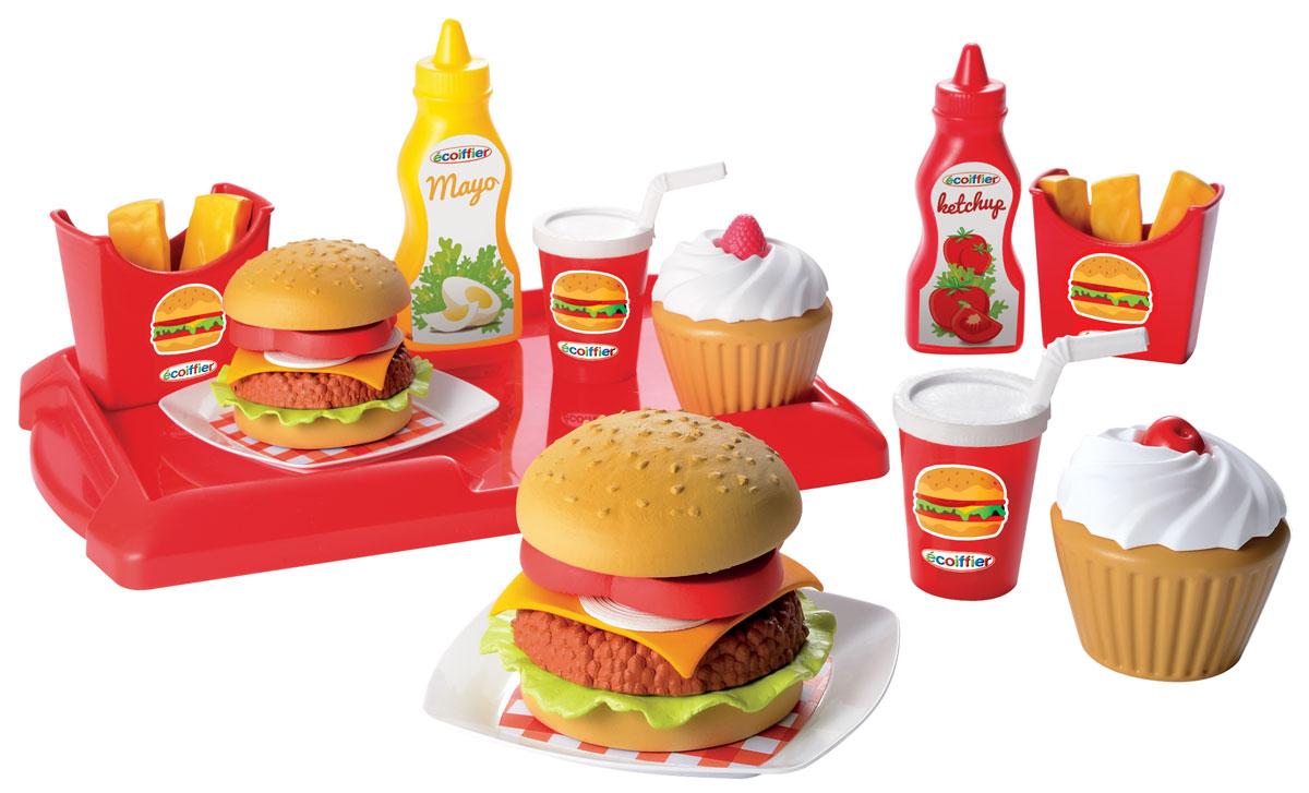 Ecoiffier Игровой набор Французский бургер2623овой набор Ecoiffier Французский бургер включает в себя два бургера, два пирожных, кетчуп, майонез, два стакана, две упаковки с картофелем Фри. Все предметы ярких цветов и выглядят очень аппетитно! Игрушки, выполненные из пластика, удобно помещаются в детской ладони, не имеют острых углов и абсолютно безопасны для ребенка. Этот замечательный набор отлично подойдет для различных детских ролевых игр.