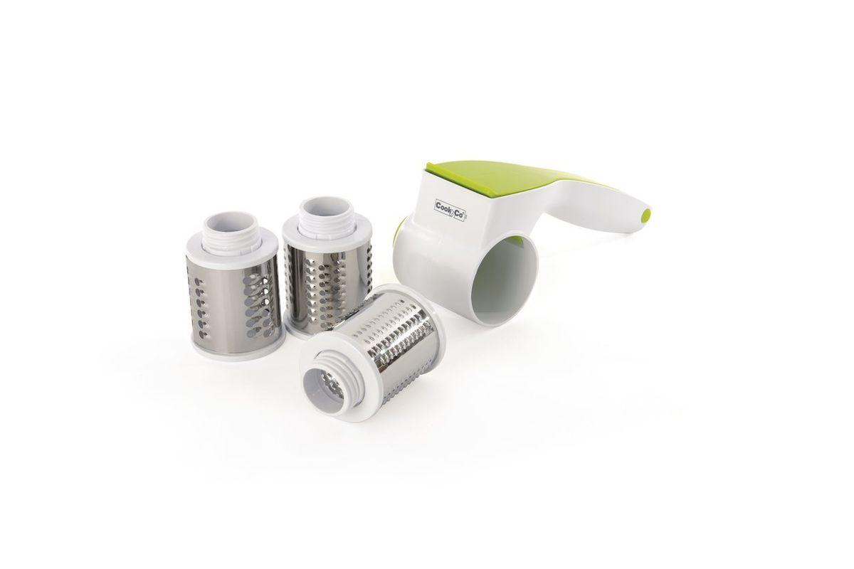 Роторная терка для сыра с тремя насадками. 28001132800113Мелкая, средняя или крупная – это Ваш выбор, поскольку 3 съемные лезвия позволяют натереть сыр так крупно или мелко, как Вы любите. Просто положите сыр, орехи или шоколад в маленький контейнер, закройте крышку и вращайте рукоятку. Вы можете сделать это заранее и переложить натертые продукты в миску, а можете натереть их прямо за столом. В комплекте 3 барабана из нержавеющей стали, корпус из прочного АБС. Подходит для мытья в посудомоечной машине.