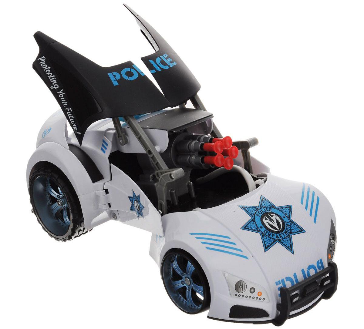 Maisto Игрушка-трансформер на радиоуправлении Police Project 6681112_белый_2944Радиоуправляемая игрушка Maisto Police Project: 66 с ярким привлекающим внимание дизайном обязательно понравится всем любителям автомобилей. Модель выполнена из высококачественного пластика в виде полицейской машины с ультрасовременным стильным дизайном, но это еще не все. При нажатии кнопки на бампере или на пульте ДУ машина трансформируется: открывается крыша, и теперь можно стрелять специальными стрелами на присосках (в комплекте 8 штук). Автомобиль двигается во все стороны, имеет большие задние колеса, что обеспечивает высокую проходимость. Модель оснащена профессиональным передатчиком с частотой 27 MHz. Управление с помощью дистанционного трехканального пульта (поставляется в комплекте). В комплекте инструкция по эксплуатации на русском языке. Для работы машины рекомендуется докупить 6 батареек напряжением 1,5V типа АА (товар комплектуется демонстрационными). Для работы пульта управления рекомендуется докупить 1 батарейку напряжением 9V (товар...