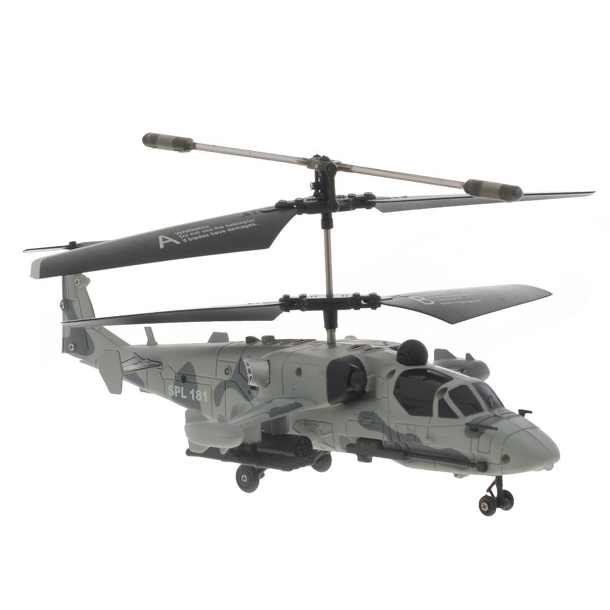 SPL-Technik Вертолет на радиоуправлении SPL 181IG158Радиоуправляемая модель Вертолет SPL 181 - отличный подарок для вашего ребенка. 3-х канальный вертолет с гироскопом отлично управляется при помощи пульта. Он может летать вверх и вниз, вперед и назад, а также вращаться вокруг вертикальной оси. Внешне модель выглядит как настоящий военный вертолет, что особенно понравится любителям военной воздушной техники. Обучиться пилотированию очень легко. При наличии желания и терпения любой новичок сможет поднять в воздух вертолет и насладиться полетом. Вертолет работает от встроенного литий-полимерного аккумулятора c напряжением 3,7V 160 mAh (входит в комплект). Пульт управления работает от 6 батареек типа АА (не входят в комплект). Время нахождения в полете: 6-8 минут. Дальность сигнала: 10 м. Необходимое время для подзарядки: 30 минут.